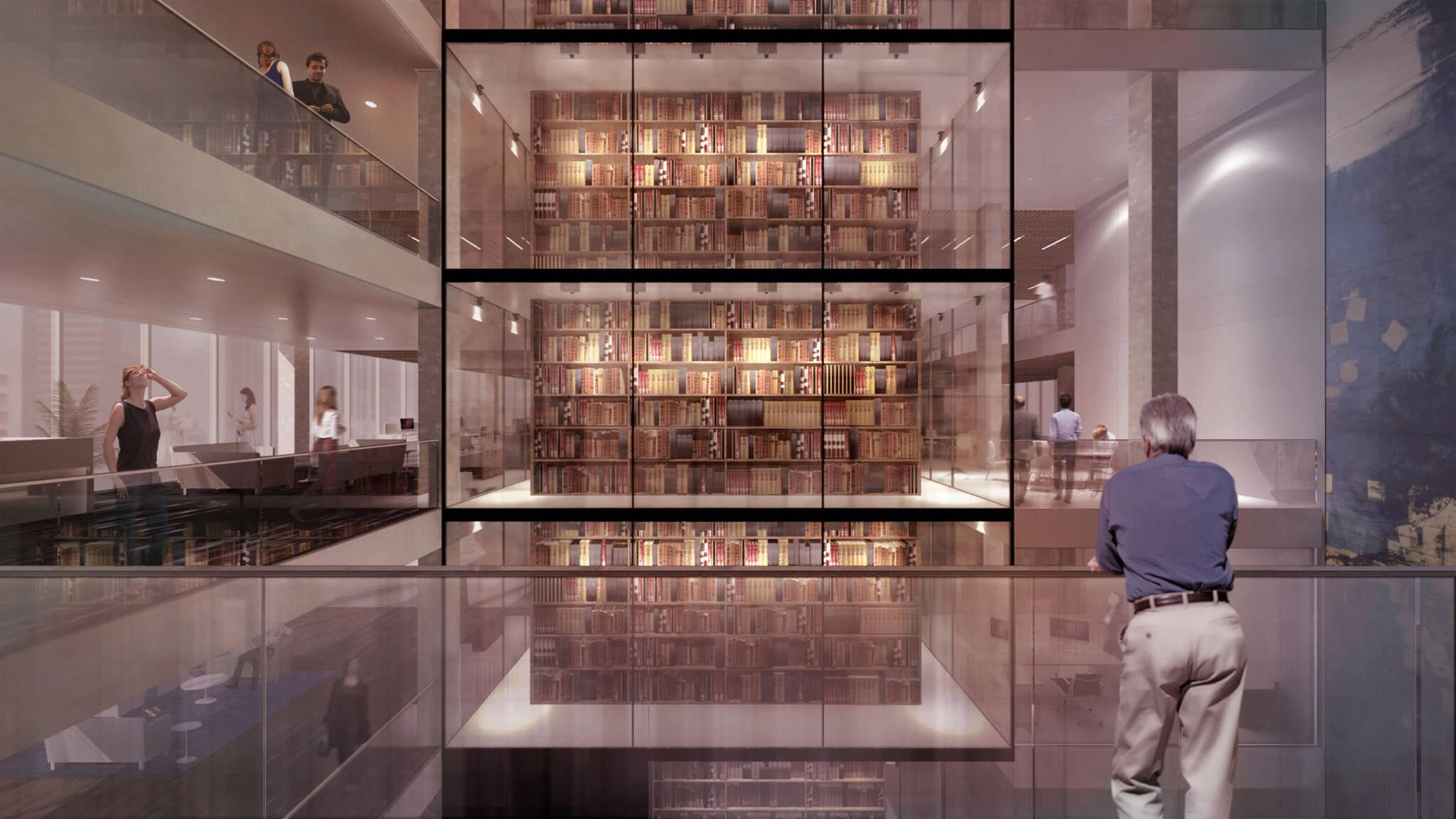 Bible Atrium of the American Bible Society project located at the Upper West Side, New York City designed by the architecture studio Danny Forster & Architecture