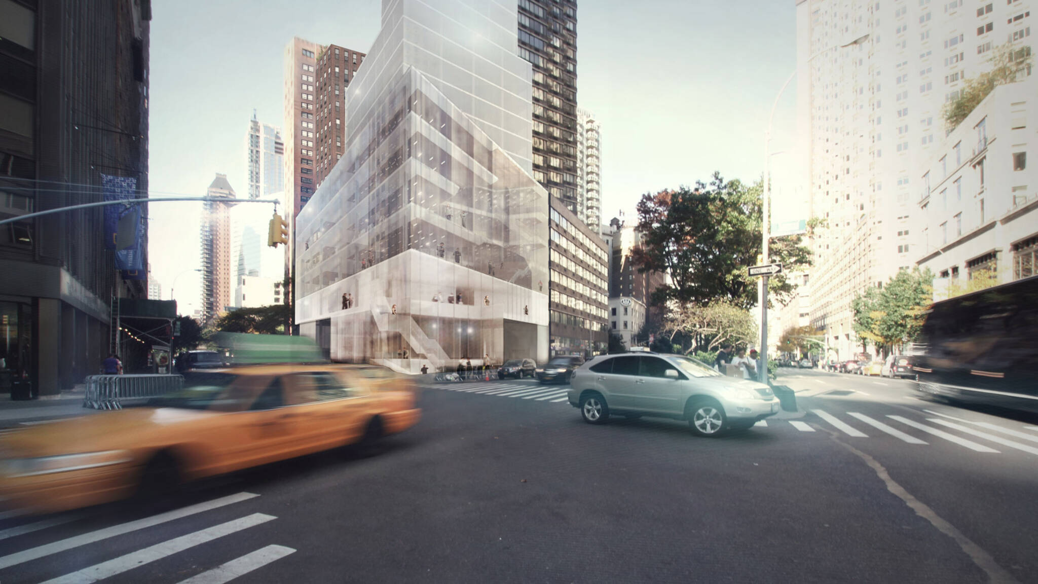 Perspective view from outside of the American Bible Society project located at the Upper West Side, New York City designed by the architecture studio Danny Forster & Architecture