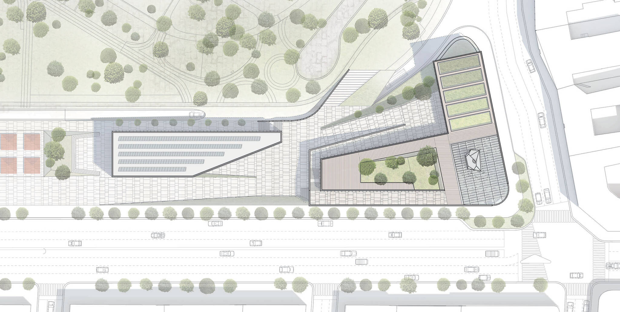 Site plan of the Museum of Etnography project located in Budapest, Hungary designed by the architecture studio Danny Forster & Architecture