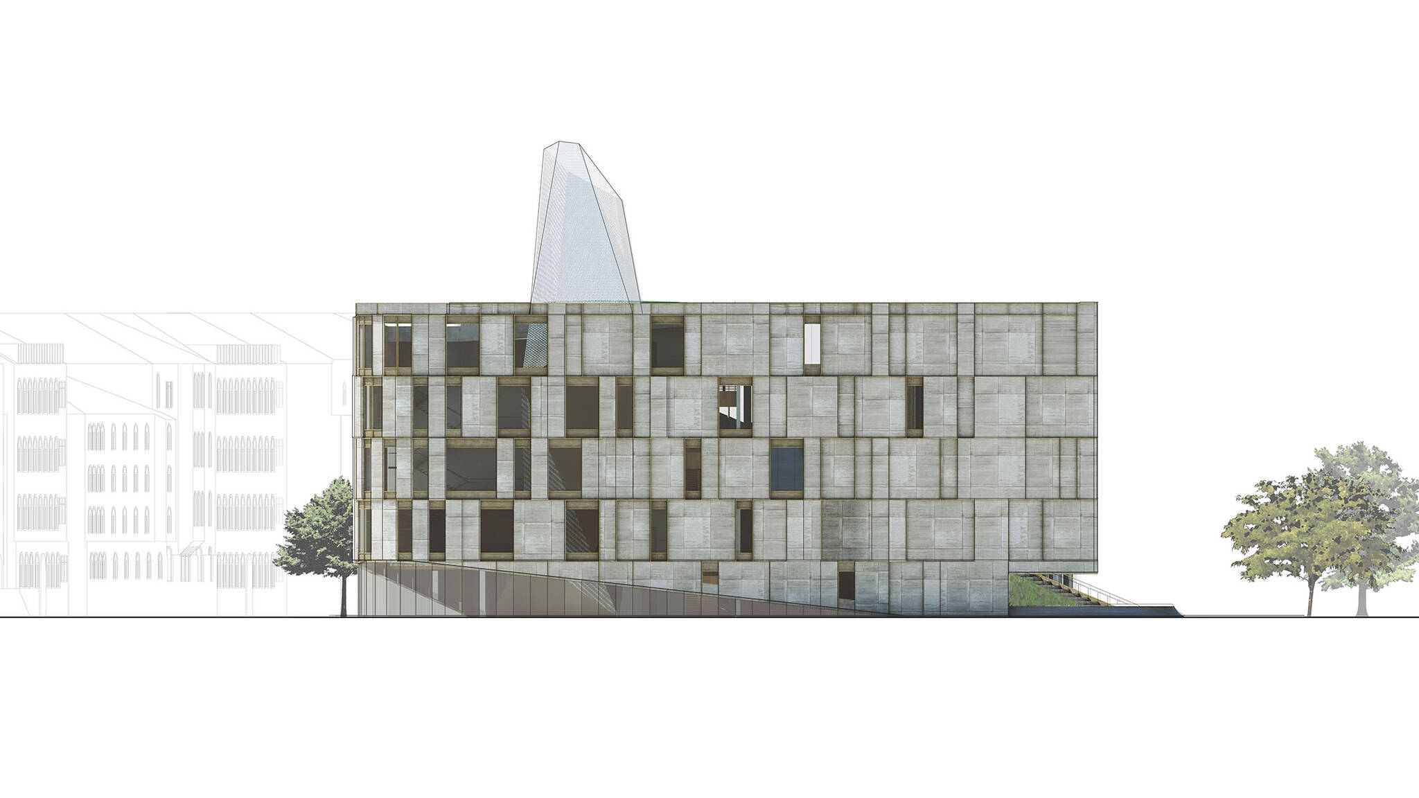 Right elevation of the Museum of Etnography project located in Budapest, Hungary designed by the architecture studio Danny Forster & Architecture