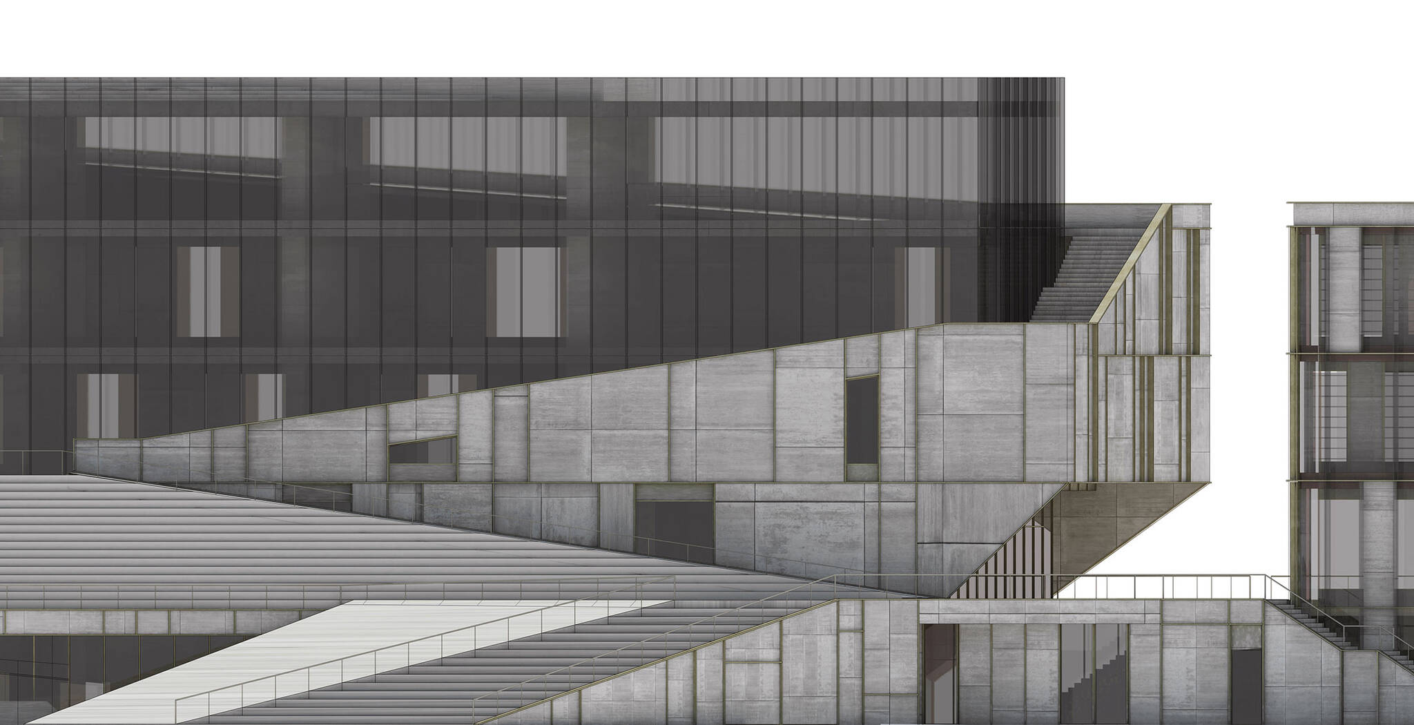 Elevation detail of the Museum of Etnography project located in Budapest, Hungary designed by the architecture studio Danny Forster & Architecture