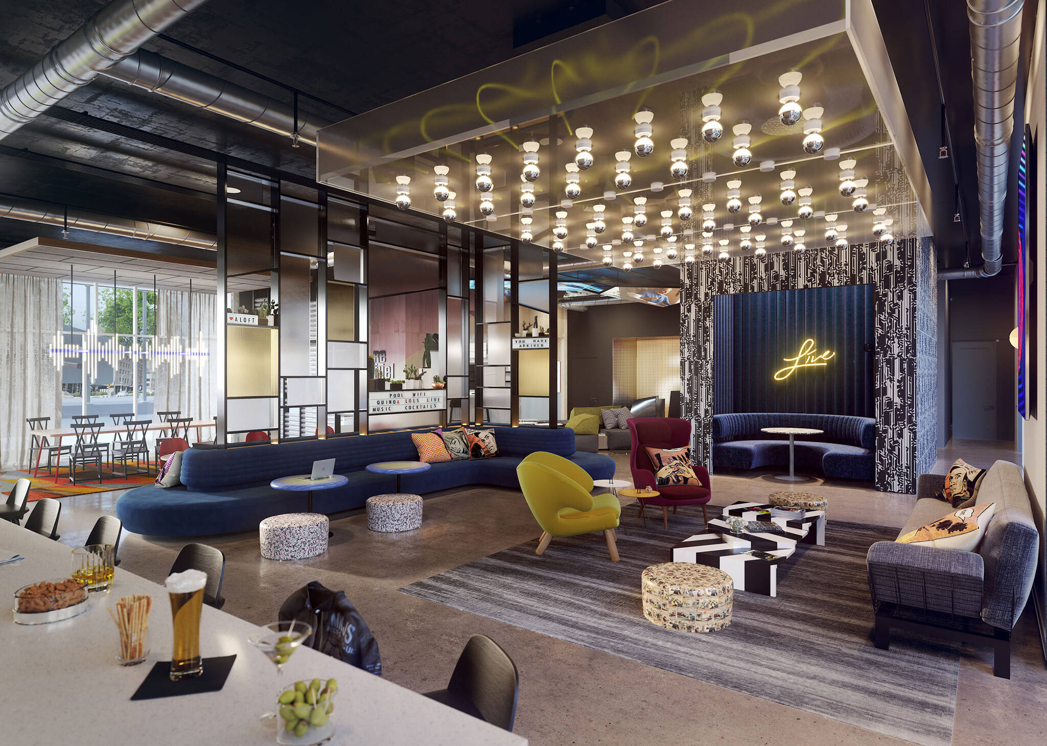 Lounge Bar of the Aloft Generation 4 Hotel project for Marriott International designed by the architecture studio Danny Forster & Architecture