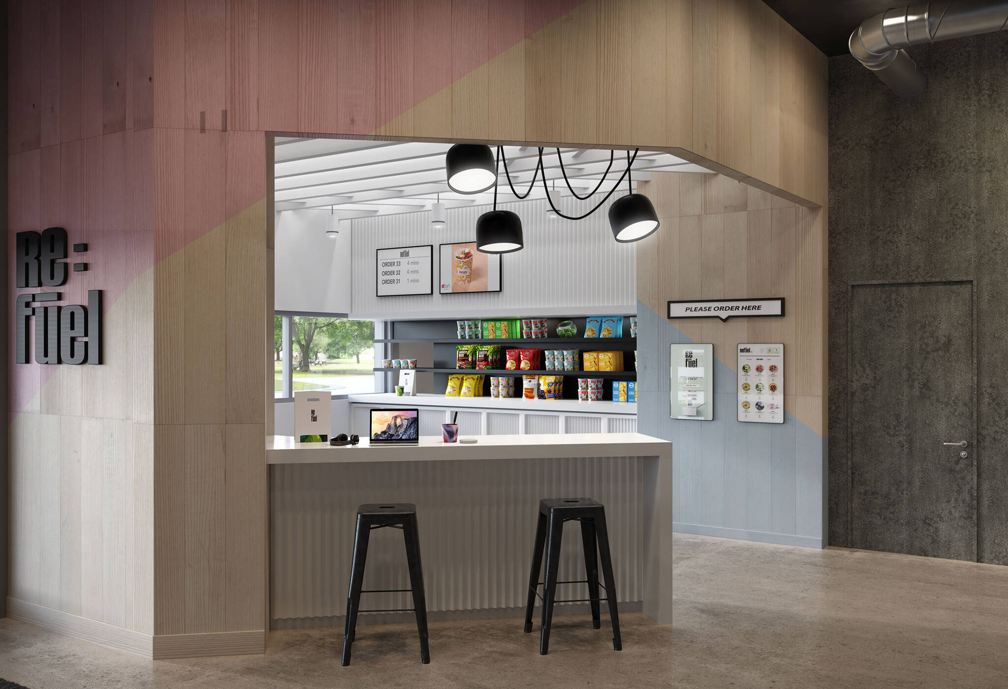 Refuel bar of the Aloft Generation 4 Hotel project for Marriott International designed by the architecture studio Danny Forster & Architecture