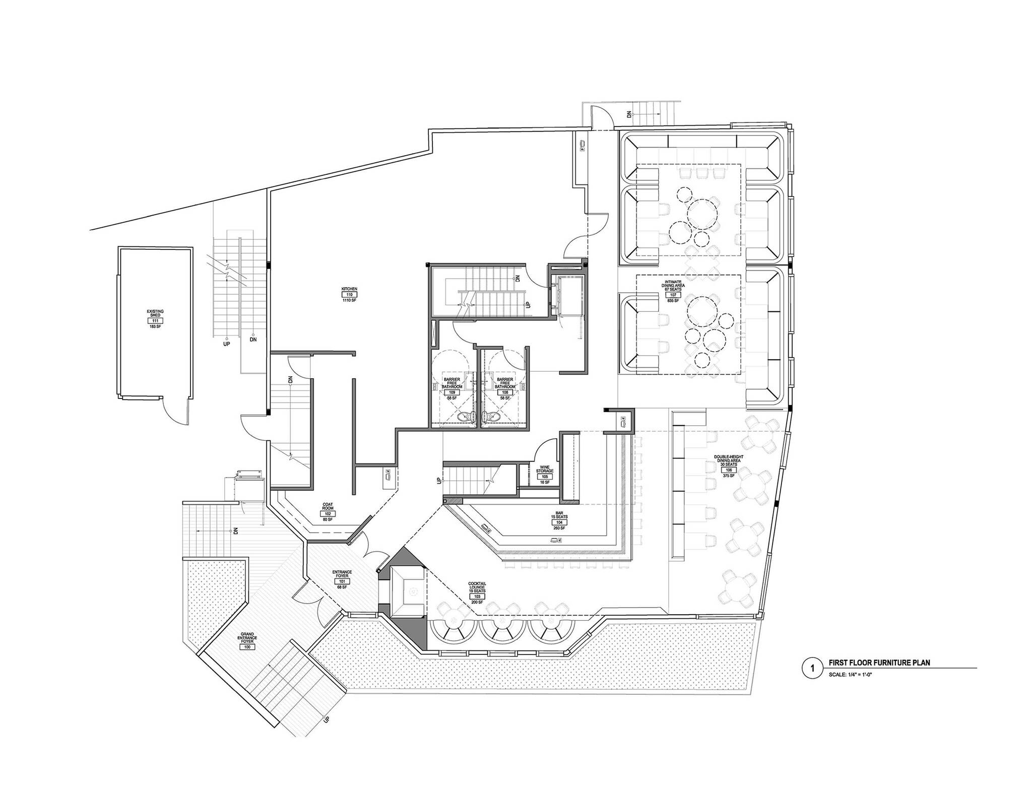 Ground floor plan of the American Cut Bar & Grill project located at 495 Sylvan Avenue in Englewood Cliffs, New Jersey designed by the architecture studio Danny Forster & Architecture