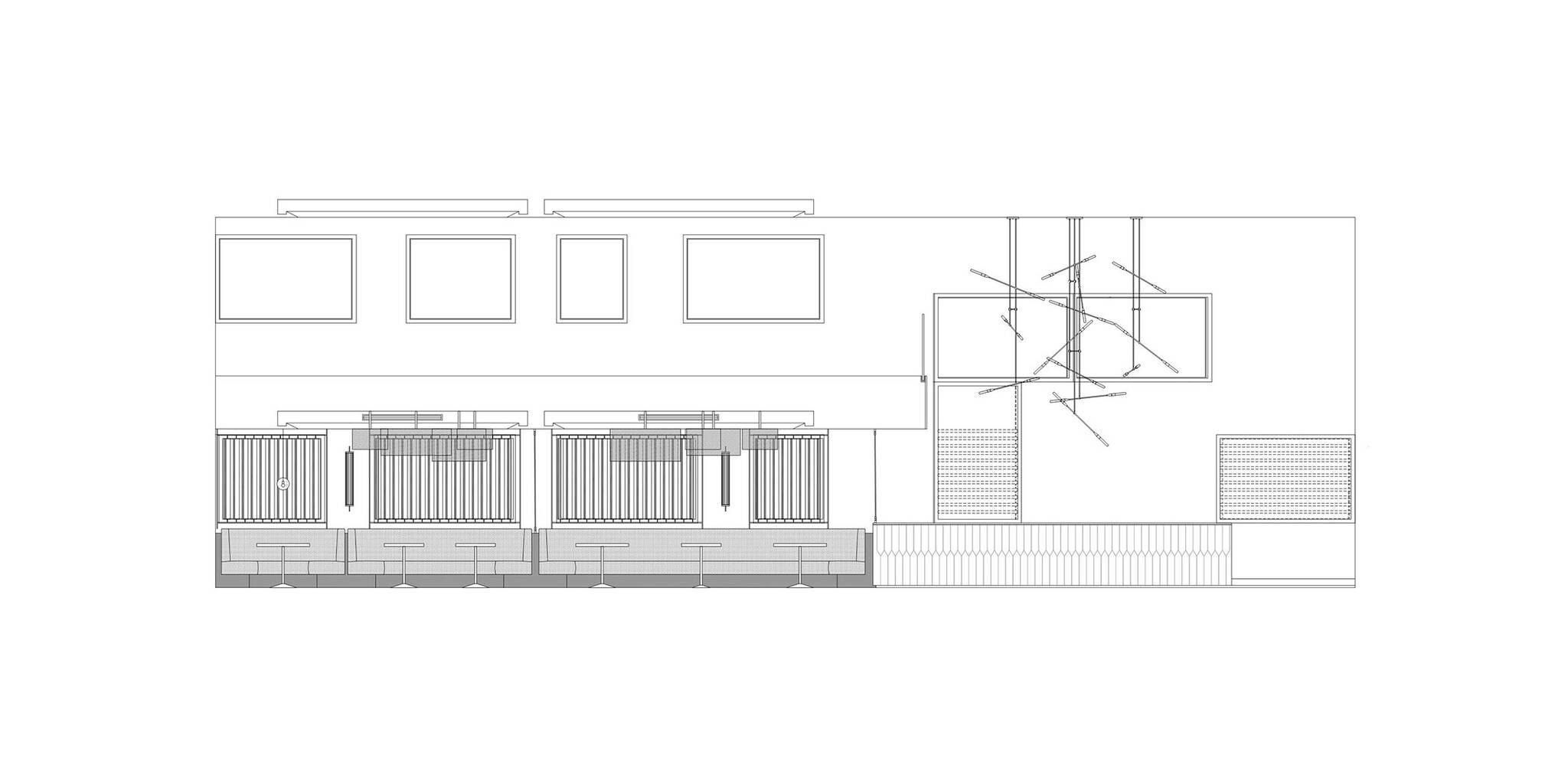 Interior elevation of the American Cut Bar & Grill project located at 495 Sylvan Avenue in Englewood Cliffs, New Jersey designed by the architecture studio Danny Forster & Architecture
