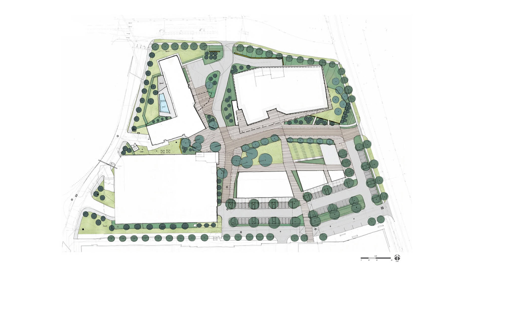 Site plan diagram of the Dallas Alpha West mixed-use complex project located in Dallas, Texas designed by the architecture studio Danny Forster & Architecture