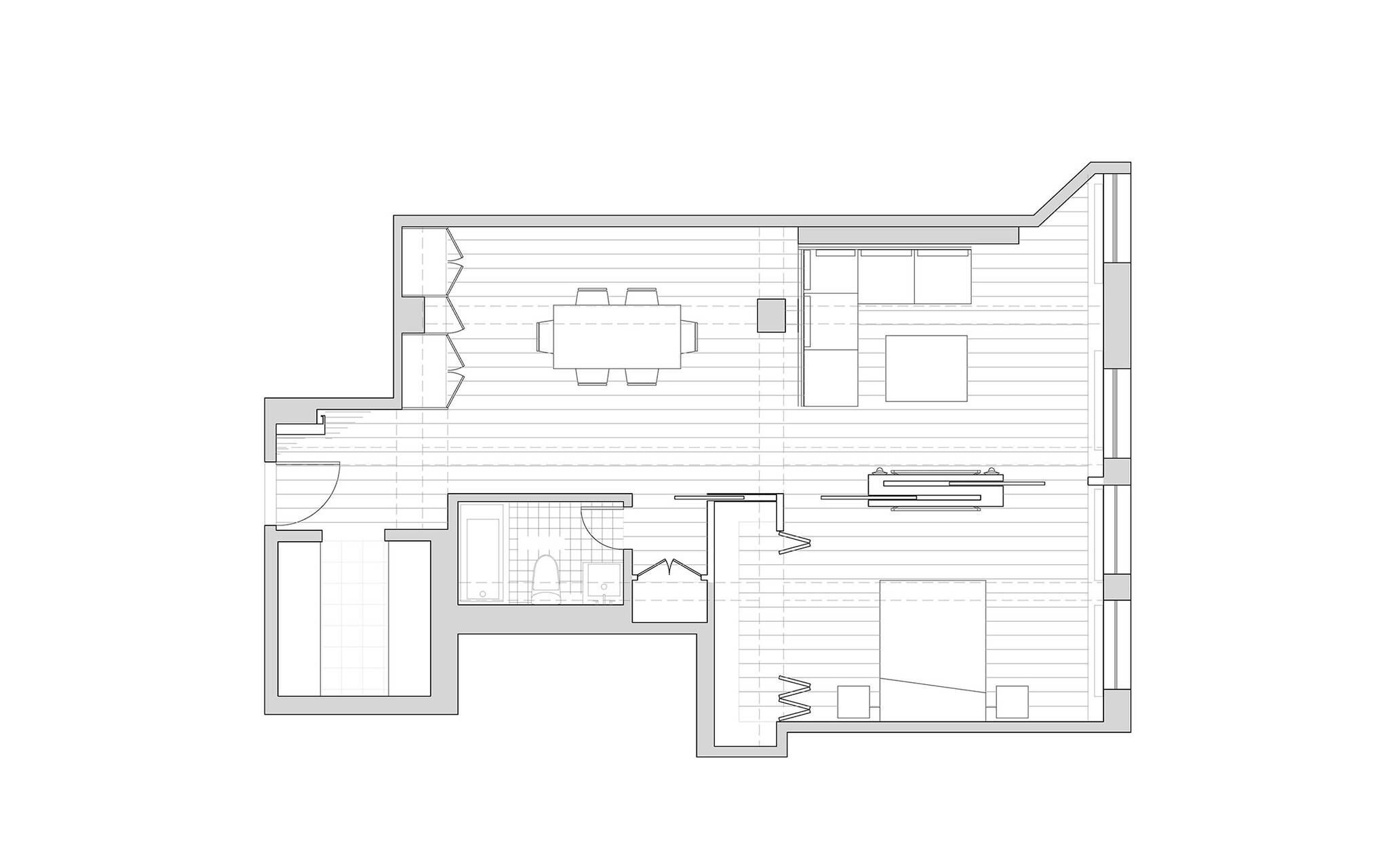 Furniture plan of the residence renovation project in the Chelsea Mews building on the Flatiron District in Manhattan, New York City designed by the architecture studio Danny Forster & Architecture