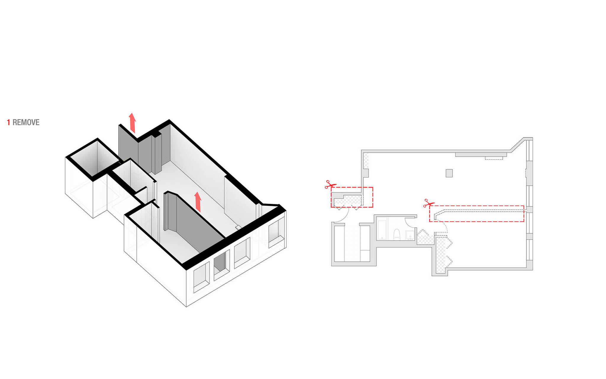 Axonometric view of the project approach of the residence renovation in the Chelsea Mews building on the Flatiron District in Manhattan, New York City designed by the architecture studio Danny Forster & Architecture
