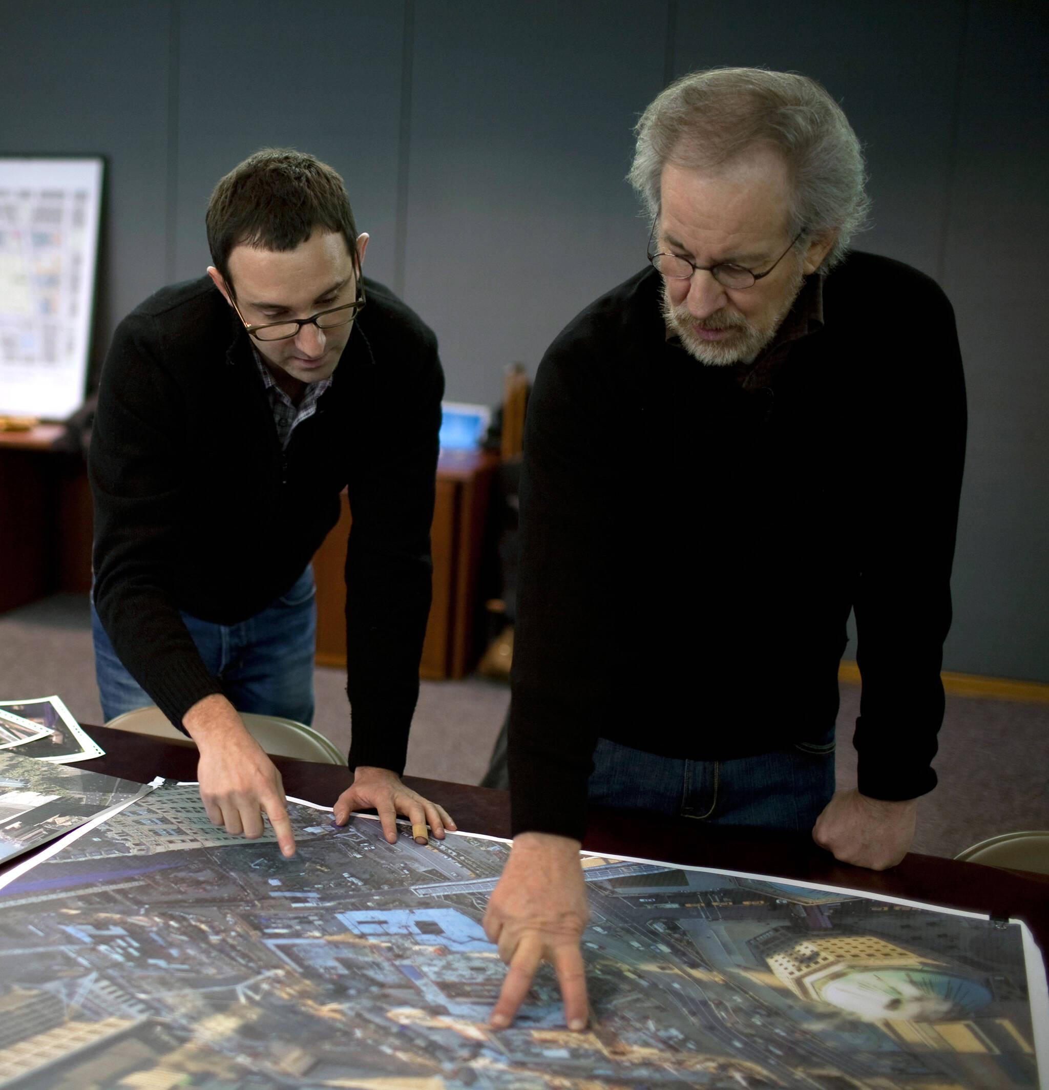 Danny Forster and Steven Spielberg reviewing takes for the Rising: Rebuilding Ground Zero documentary Co-produced by Danny Forster and Steven Spielberg about the rebuilding of the World Trade Center site in the wake of 9/11.