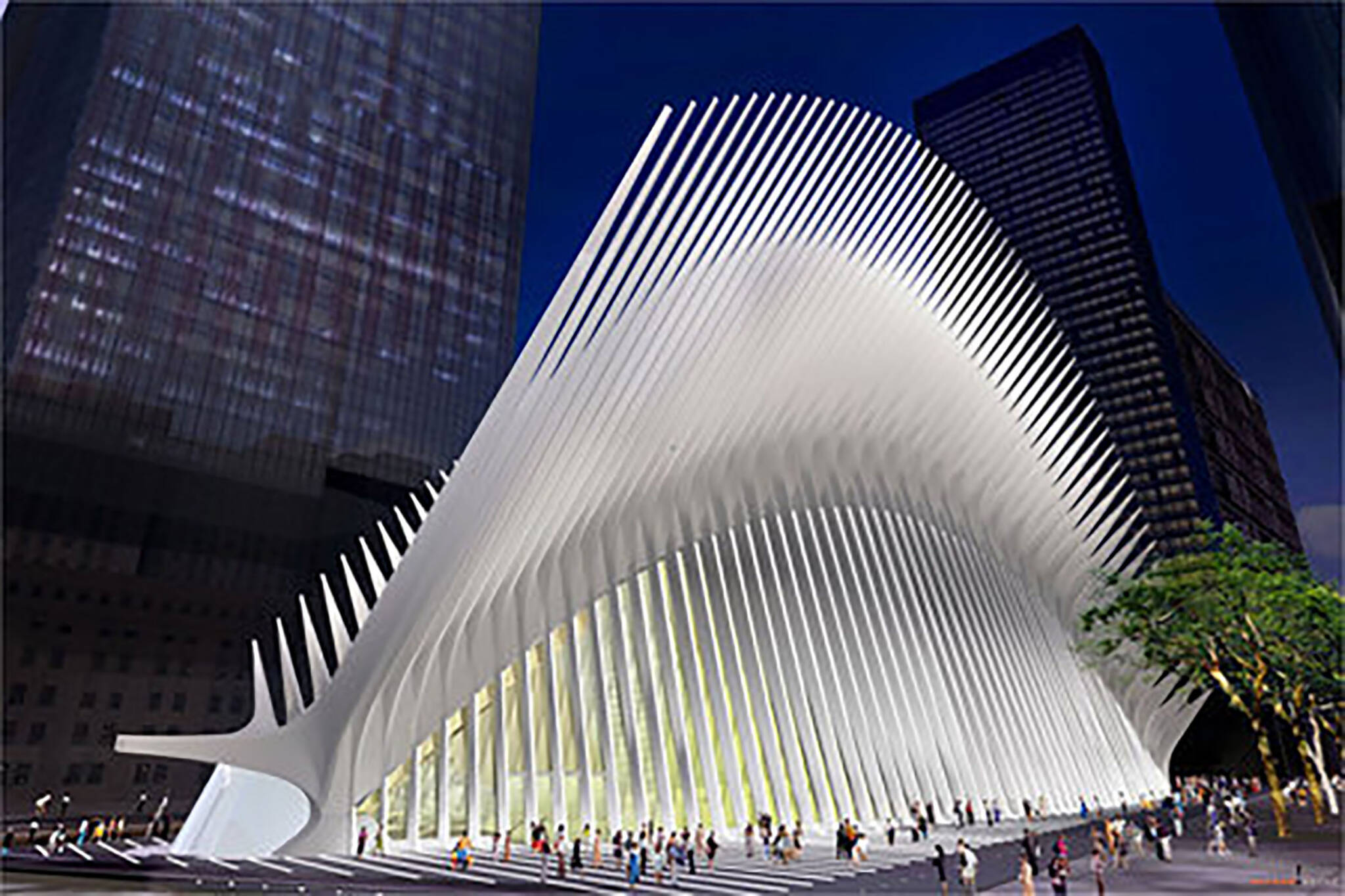 The Oculus designed by Santiago Calatrava as seen on the Rising: Rebuilding Ground Zero documentary Co-produced by Danny Forster and Steven Spielberg about the rebuilding of the World Trade Center site in the wake of 9/11.