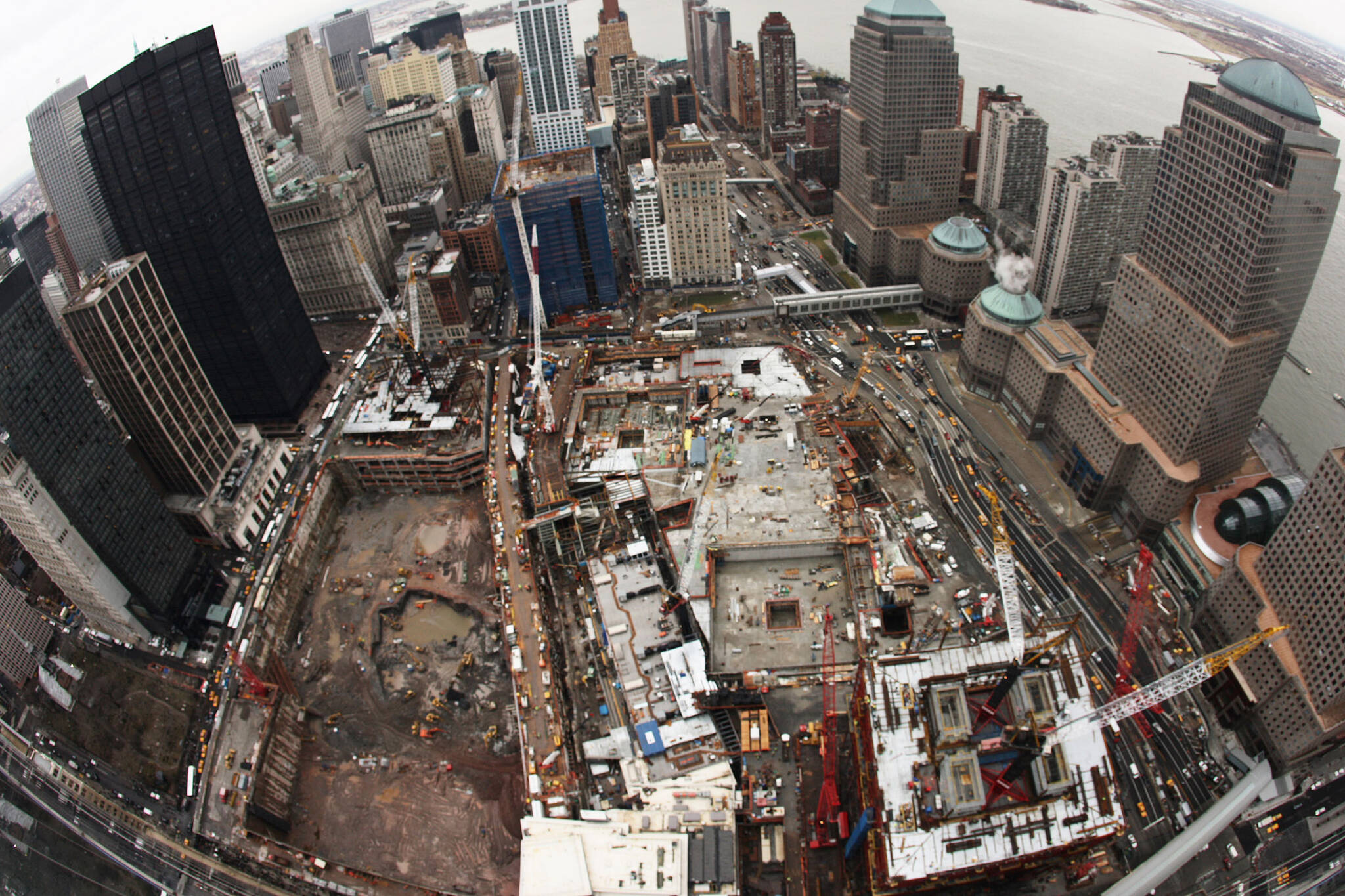 View of the foundations of the Ground Zero area rebuilding project for the Rising: Rebuilding Ground Zero documentary Co-produced by Danny Forster and Steven Spielberg about the rebuilding of the World Trade Center site in the wake of 9/11.