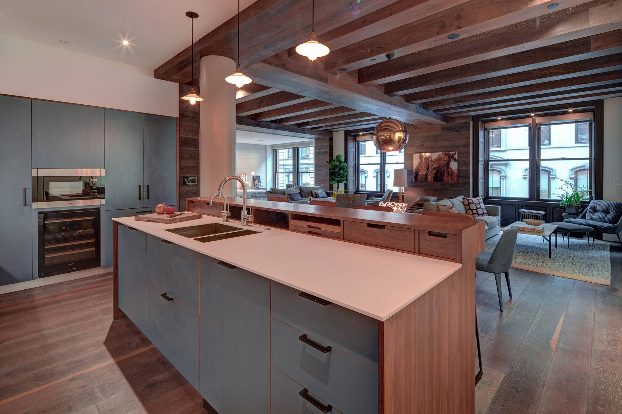Kitchen of the loft renovation project in Union Square, New York City designed by the architecture studio Danny Forster & Architecture