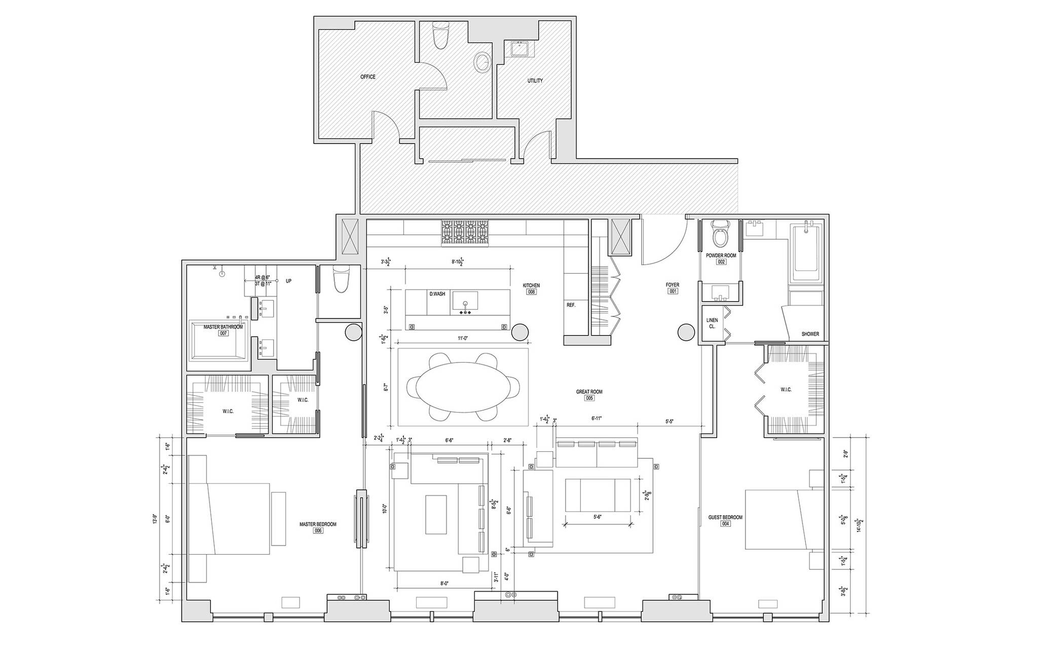 Floor plan of the loft renovation project in Union Square, New York City designed by the architecture studio Danny Forster & Architecture