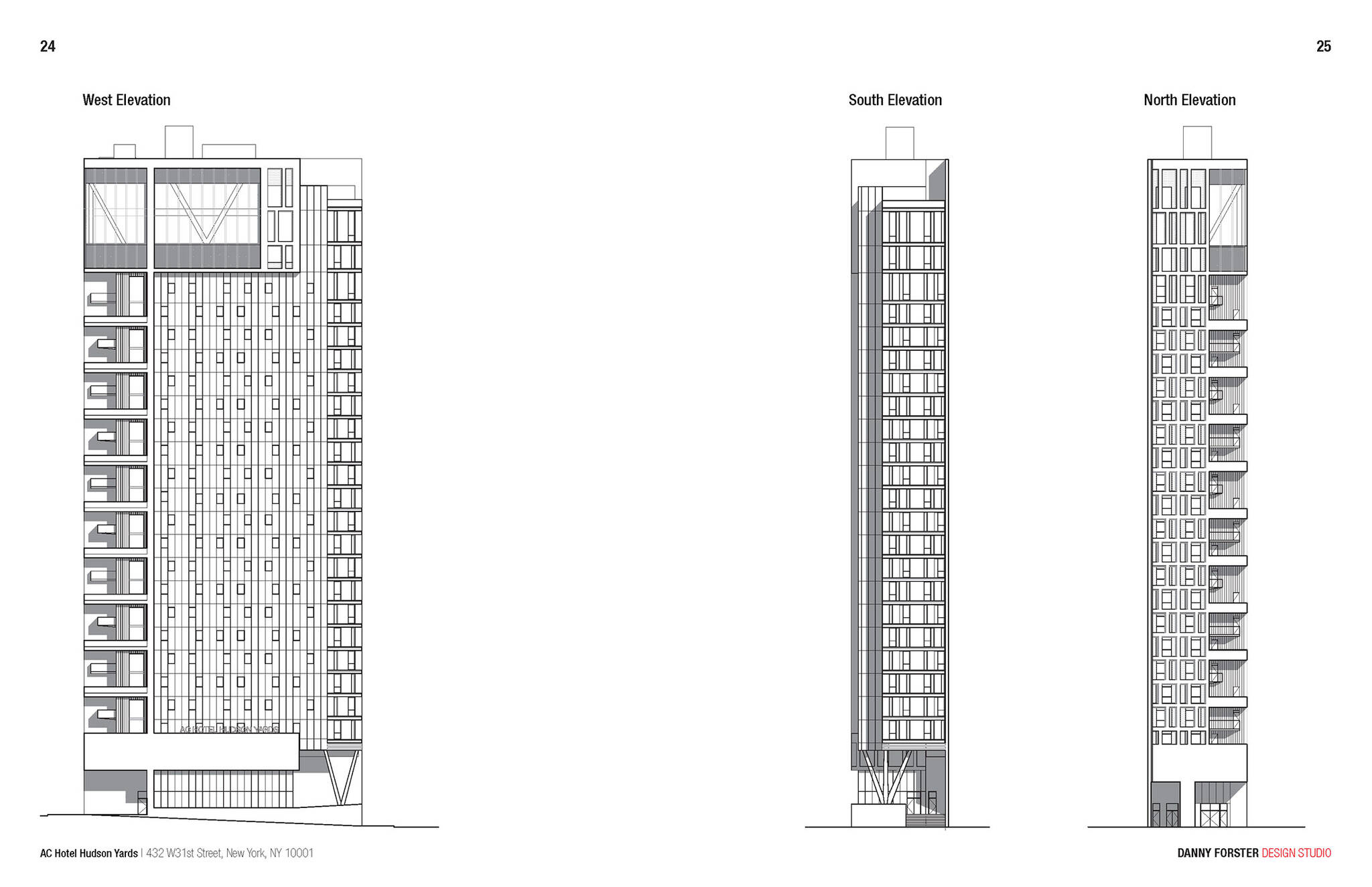 Elevation views of the Hudson Yards Autograph Hotel project by Marriott, a modular hotel tower located at 432 West 31st Street in Hudson Yards, New York City designed by the architecture studio Danny Forster & Architecture