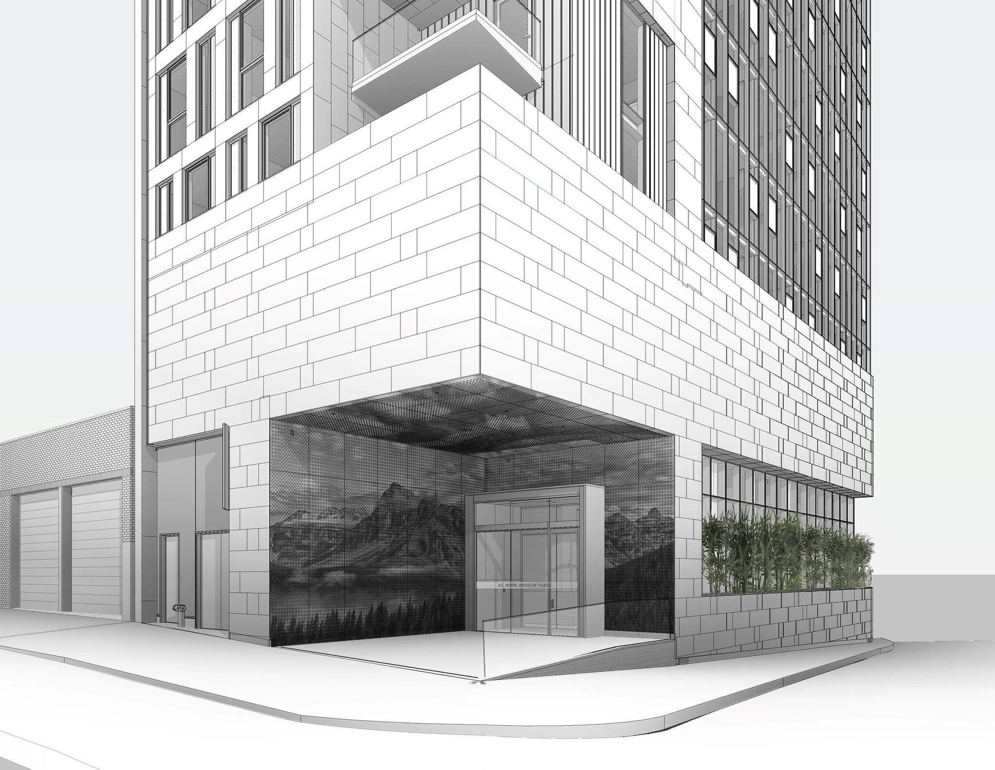 Entrance perspective drawing of the Hudson Yards Autograph Hotel project by Marriott, a modular hotel tower located at 432 West 31st Street in Hudson Yards, New York City designed by the architecture studio Danny Forster & Architecture