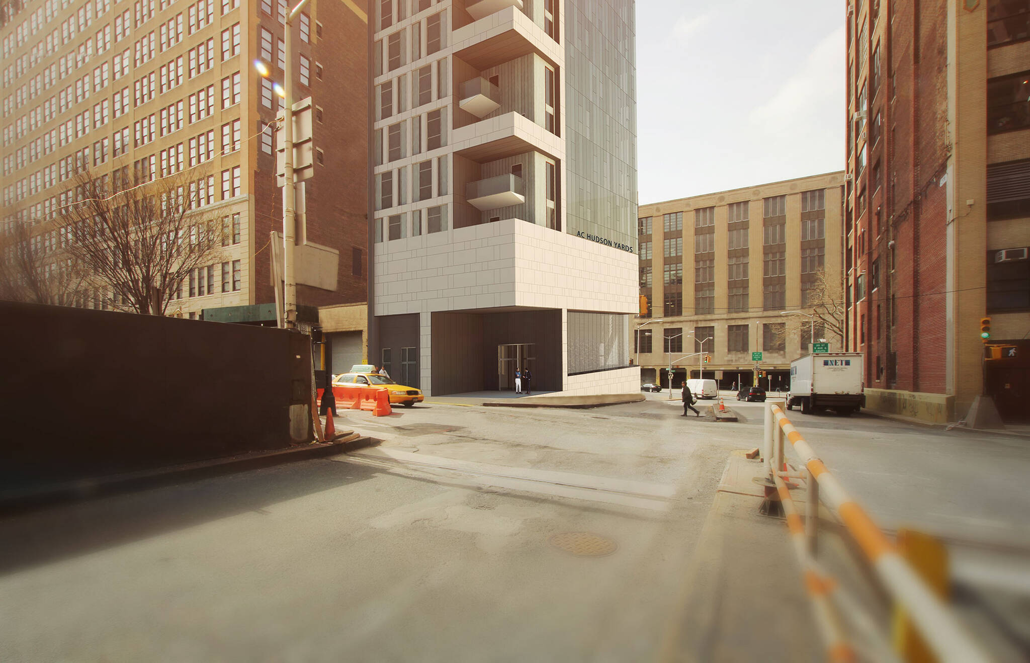 Architectural rendering of the Podium of the Hudson Yards Autograph Hotel project by Marriott from across the street, a modular hotel tower located at 432 West 31st Street in Hudson Yards, New York City designed by the architecture studio Danny Forster & Architecture