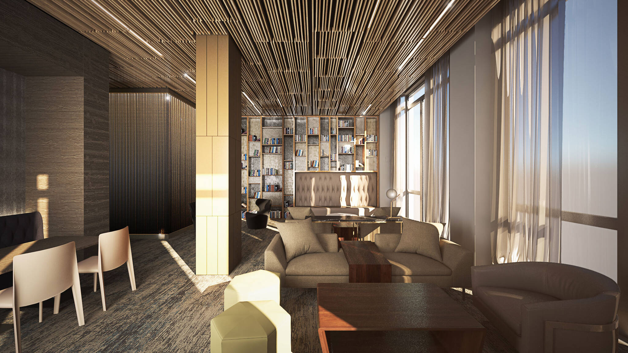 Library of the Hudson Yards Autograph Hotel project by Marriott, a modular hotel tower located at 432 West 31st Street in Hudson Yards, New York City designed by the architecture studio Danny Forster & Architecture