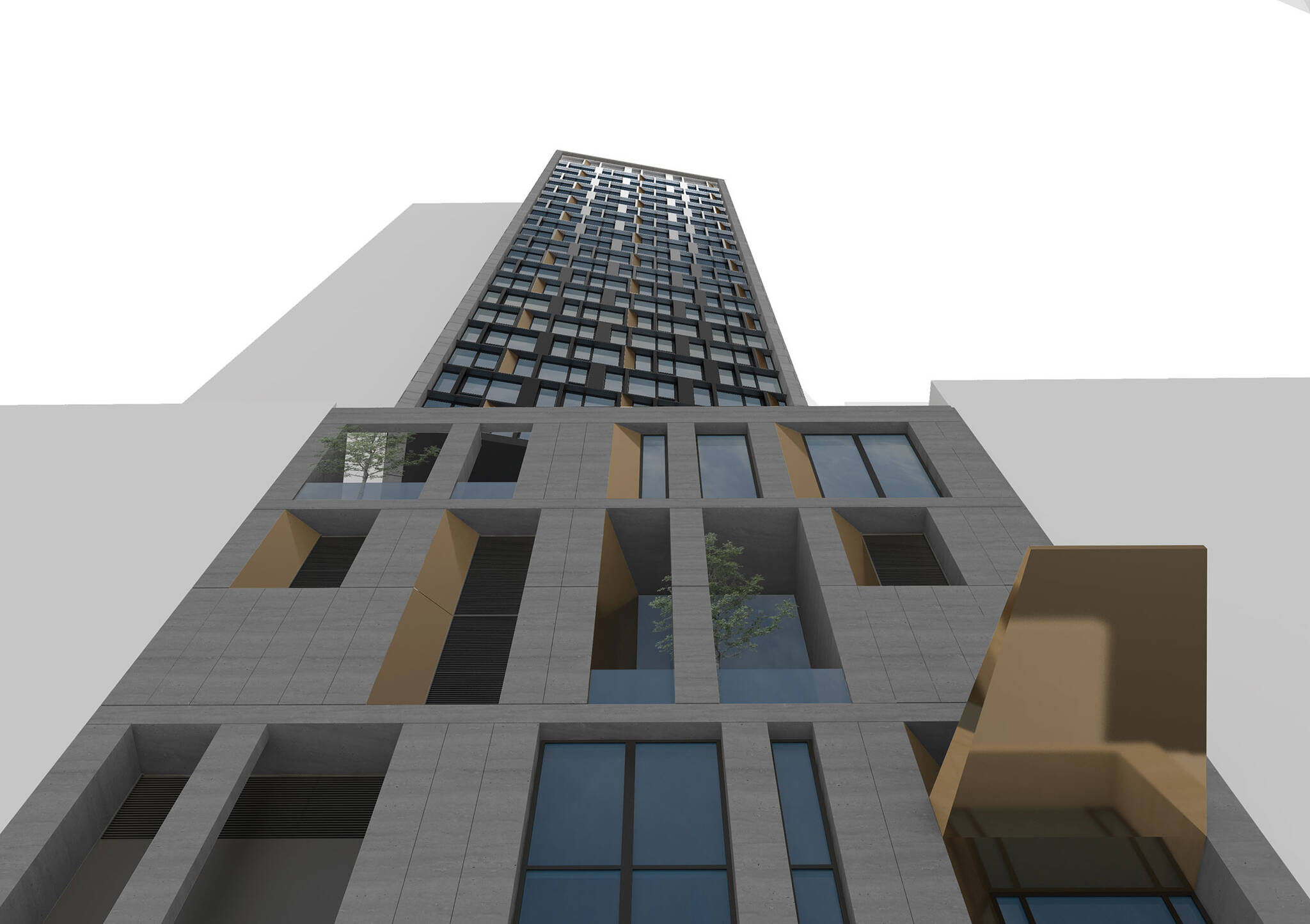 Lookup view of the Modular AC Hotel project located at 842 Sixth Avenue in NoMad, New York City designed by the architecture studio Danny Forster & Architecture