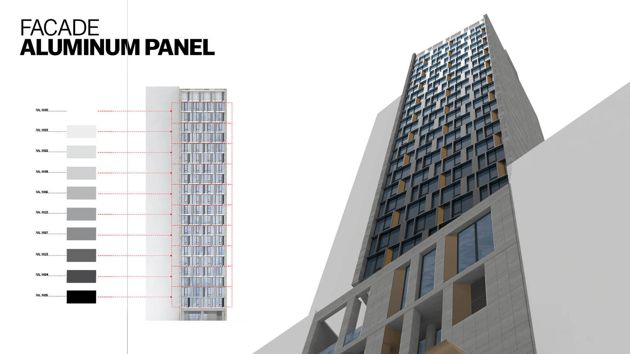 Aluminum panel facade of the Modular AC Hotel project located at 842 Sixth Avenue in NoMad, New York City designed by the architecture studio Danny Forster & Architecture