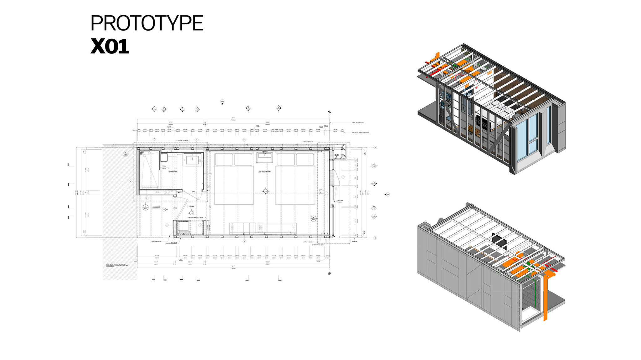 Mechanical plan of the X01 prototype of the Modular AC Hotel project located at 842 Sixth Avenue in NoMad, New York City designed by the architecture studio Danny Forster & Architecture