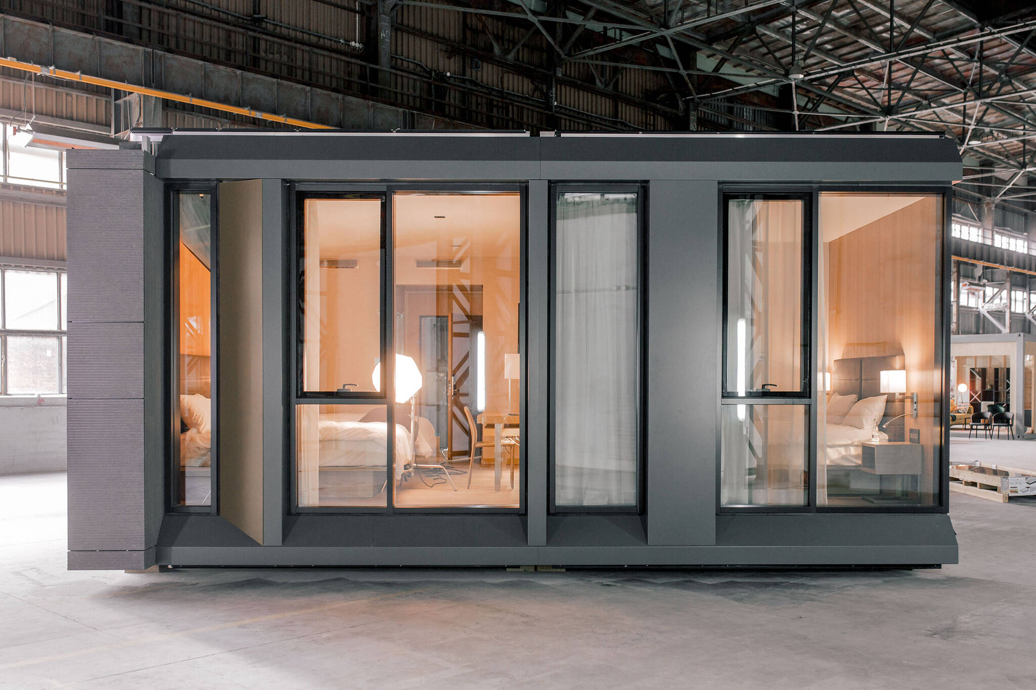 Fully furnished assembled guestroom module of the AC Hotel project located at 842 Sixth Avenue in NoMad, New York City designed by the architecture studio Danny Forster & Architecture