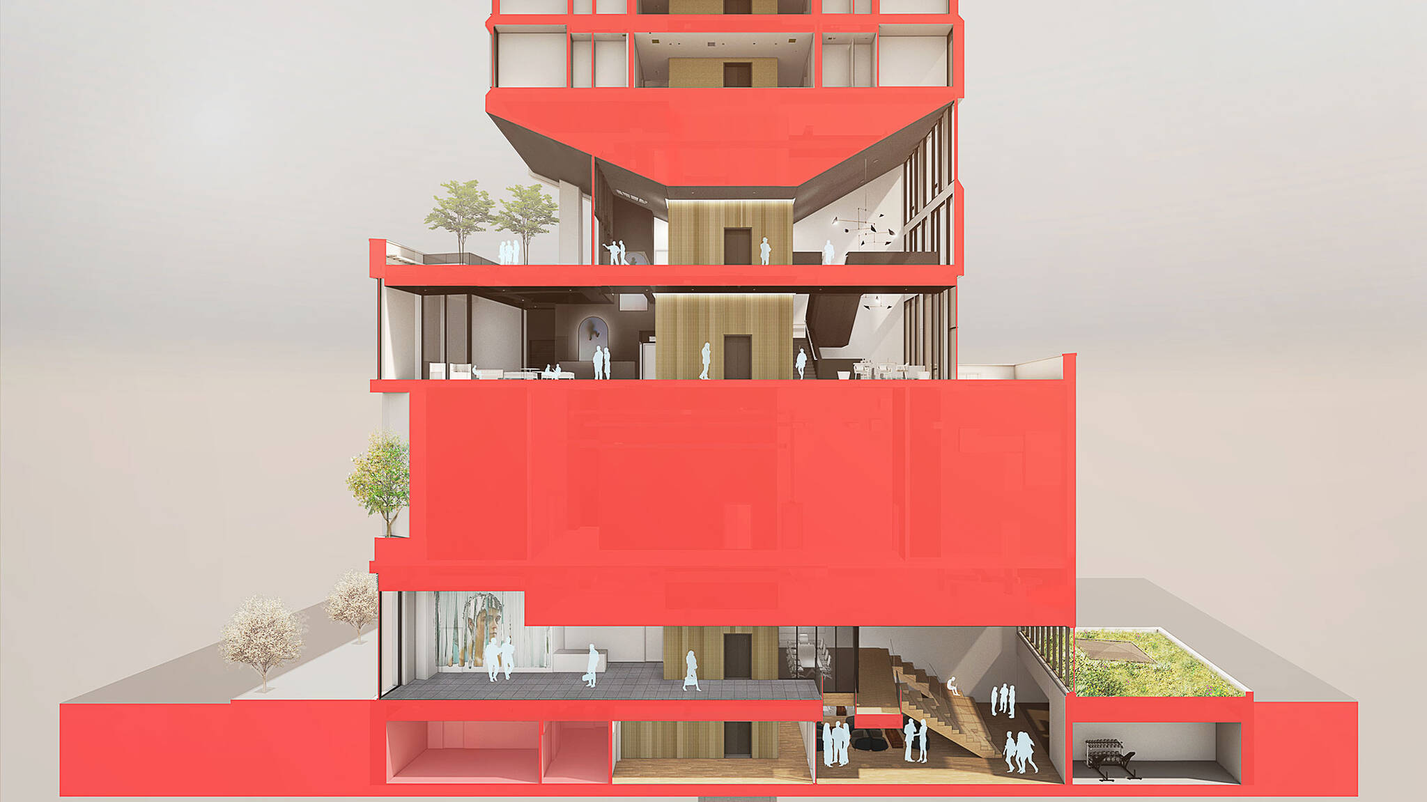 Perspective section view of the Modular AC Hotel project located at 842 Sixth Avenue in NoMad, New York City designed by the architecture studio Danny Forster & Architecture