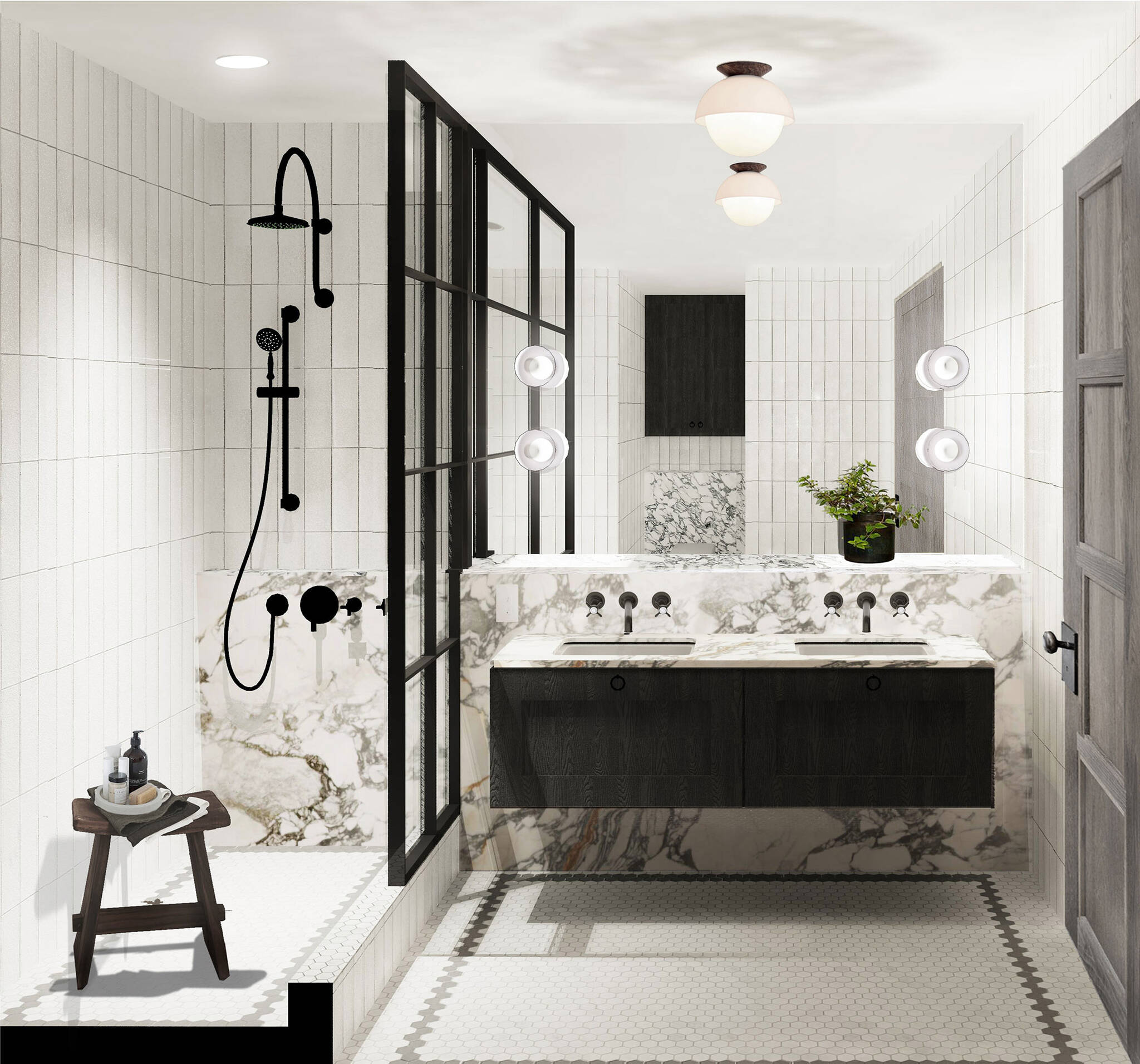 Bathroom of the Residence renovation project on the East Side of Manhattan, New York City designed by the architecture studio Danny Forster & Architecture