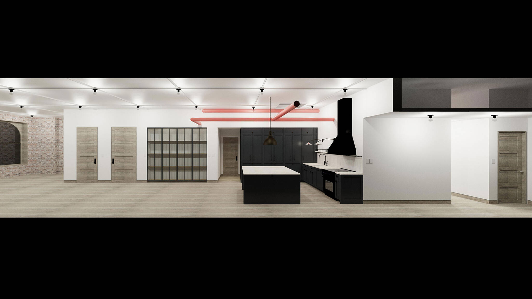Panoramic section view of the Residence renovation project on the East Side of Manhattan, New York City designed by the architecture studio Danny Forster & Architecture