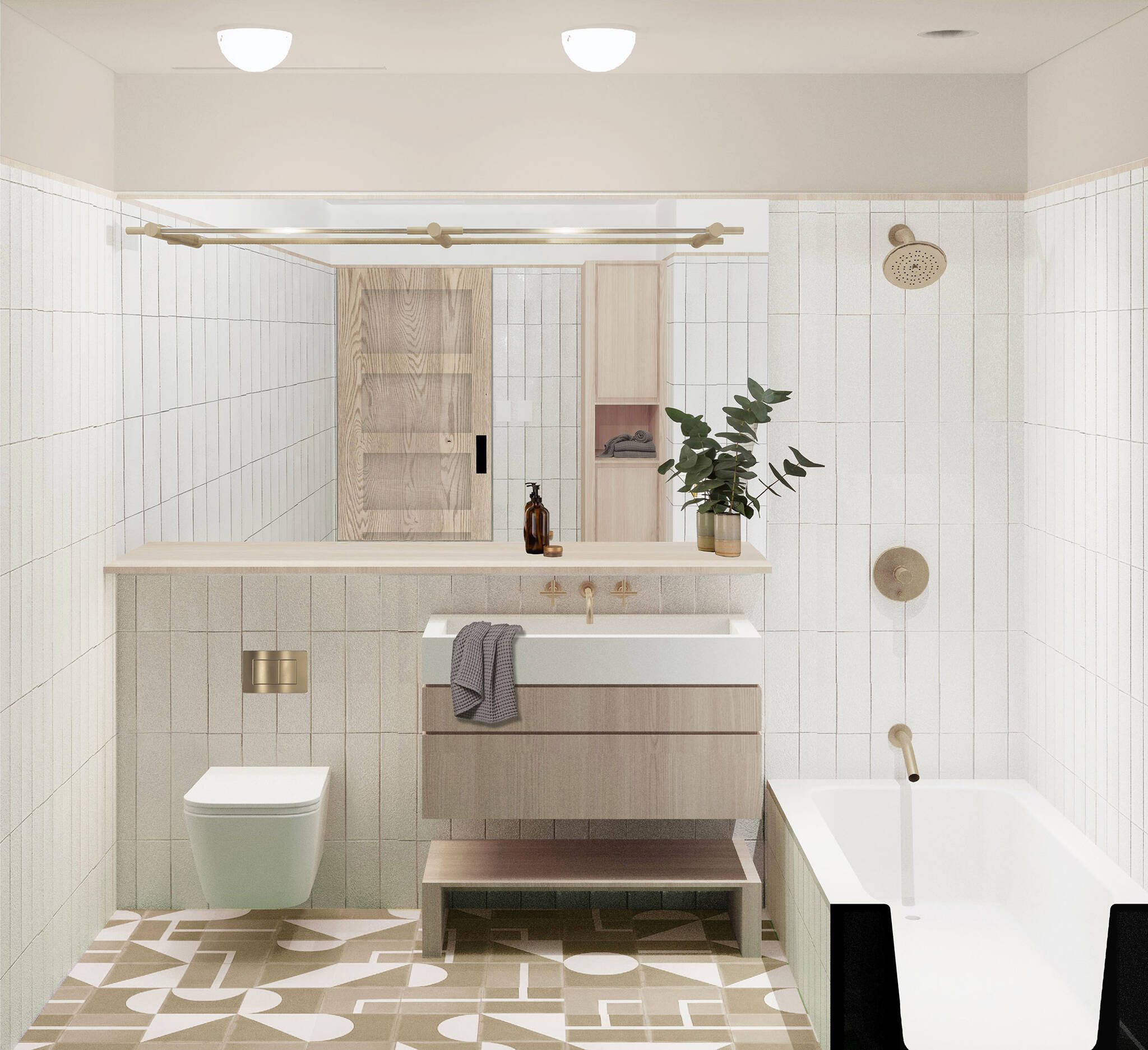 Full bathroom of the Residence renovation project on the East Side of Manhattan, New York City designed by the architecture studio Danny Forster & Architecture