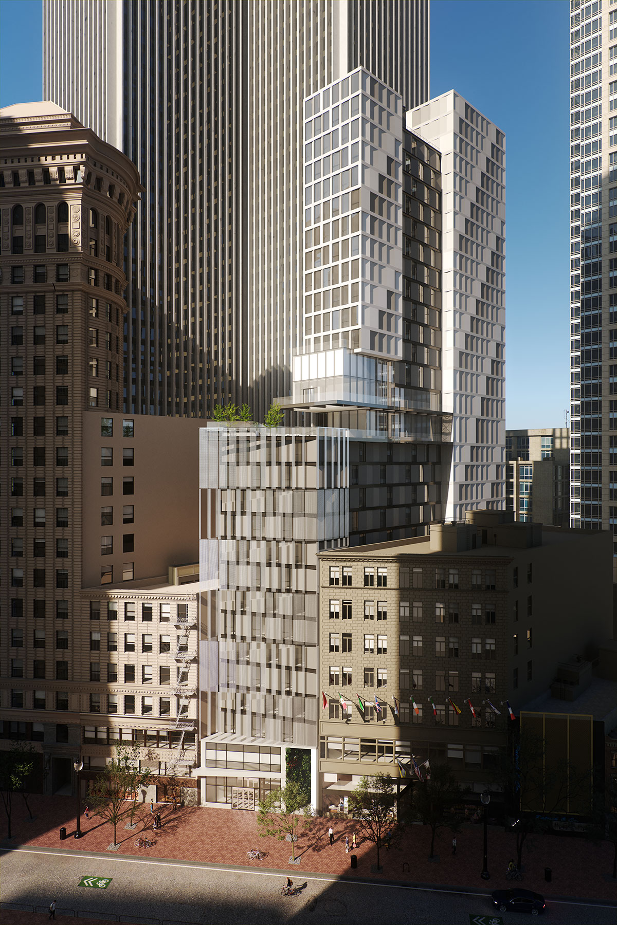 Aerial view of the San Francisco modular project located at 570 Market Street on the Financial District of San Francisco, California designed by the architecture studio Danny Forster & Architecture
