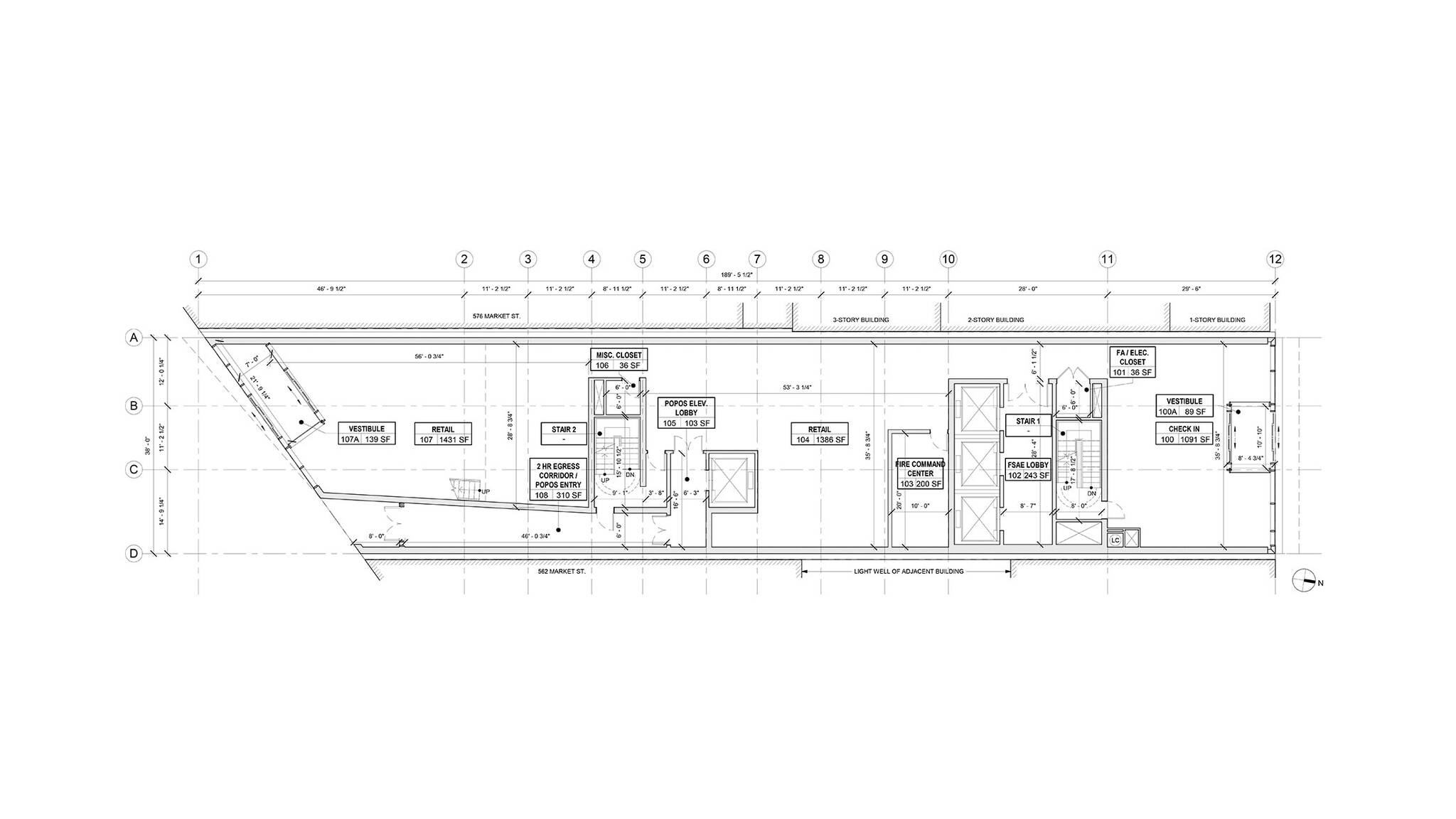 Mechanical plan of the lobby of the San Francisco modular project located at 570 Market Street on the Financial District of San Francisco, California designed by the architecture studio Danny Forster & Architecture