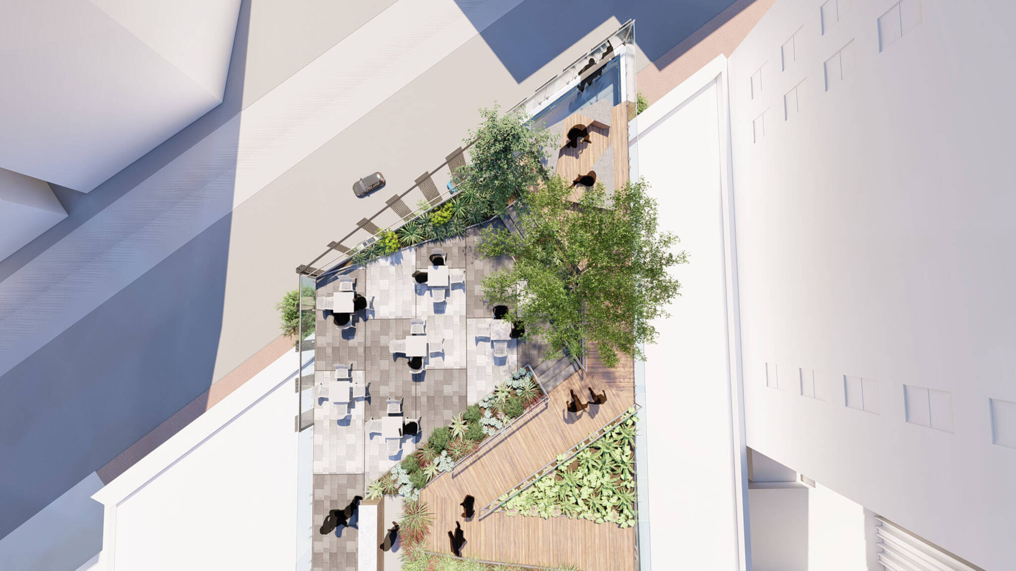 Top view of the terrace of the San Francisco modular project located at 570 Market Street on the Financial District of San Francisco, California designed by the architecture studio Danny Forster & Architecture