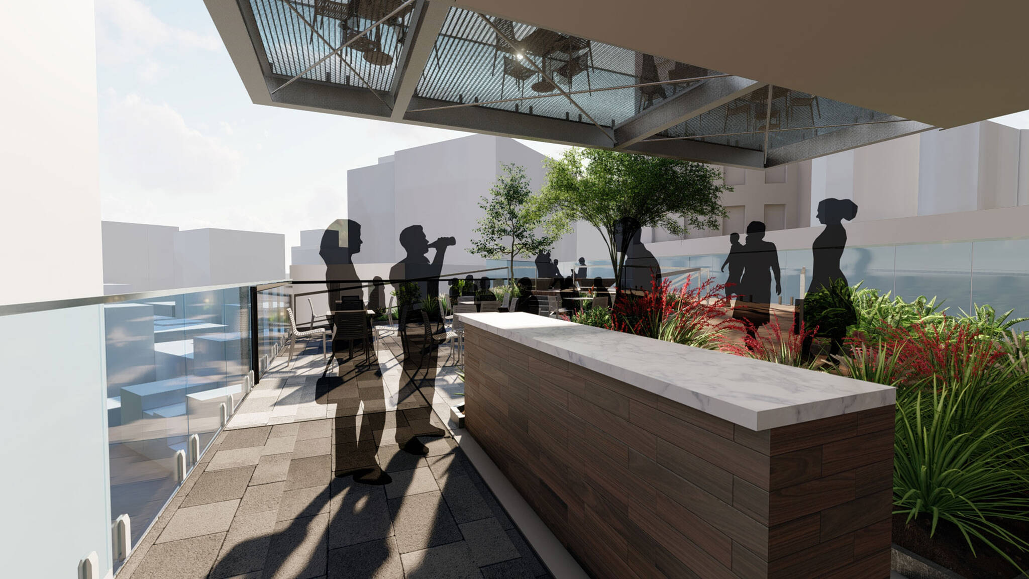 Bar on the terrace of the San Francisco modular project located at 570 Market Street on the Financial District of San Francisco, California designed by the architecture studio Danny Forster & Architecture