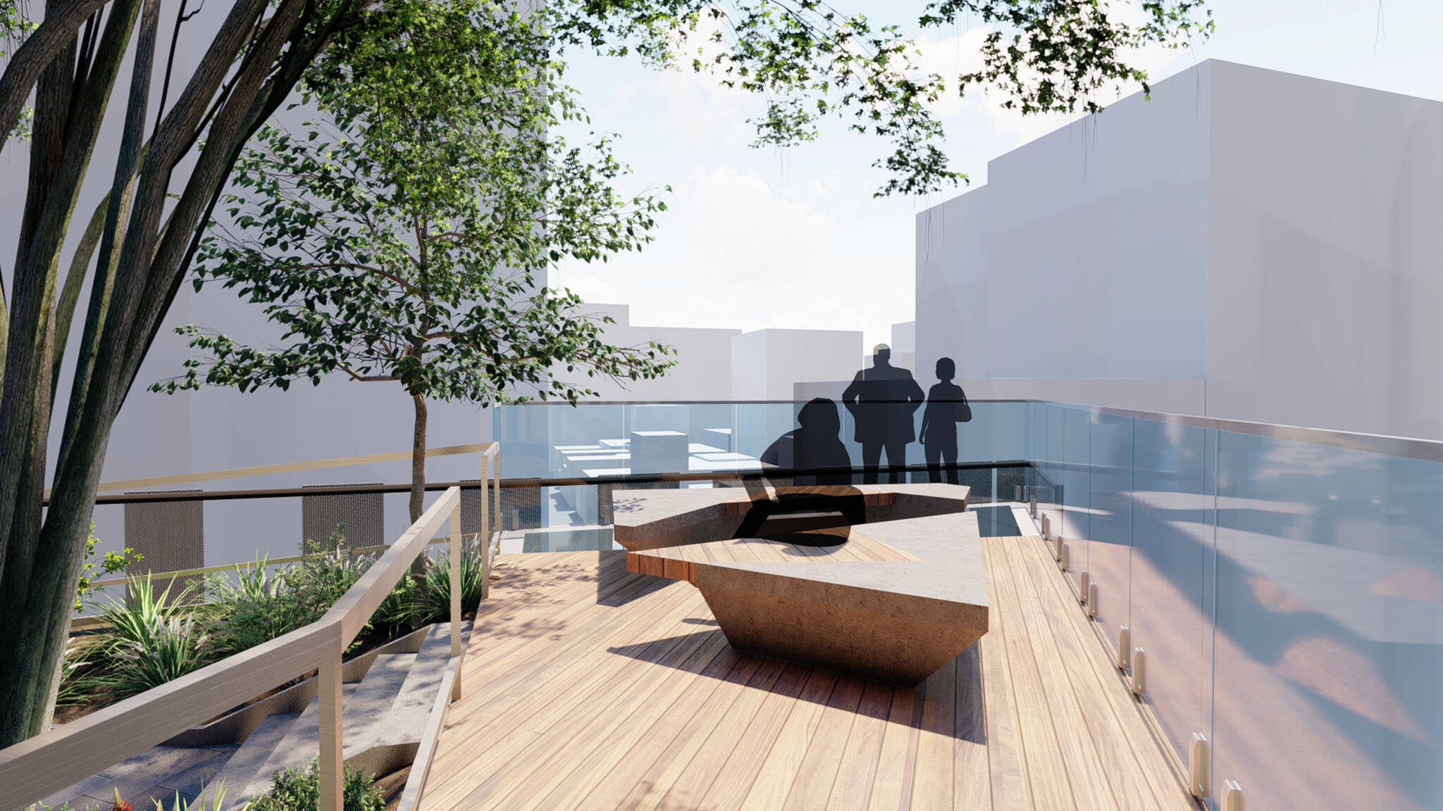 Boardwalk on the terrace of the San Francisco modular project located at 570 Market Street on the Financial District of San Francisco, California designed by the architecture studio Danny Forster & Architecture