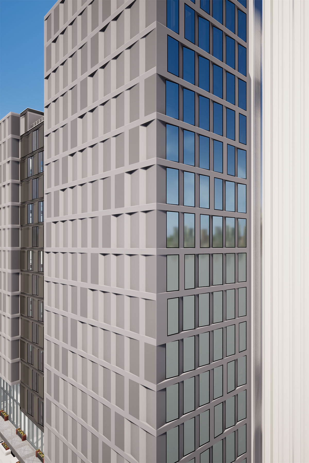 Facade pattern of the San Francisco modular project located at 570 Market Street on the Financial District of San Francisco, California designed by the architecture studio Danny Forster & Architecture