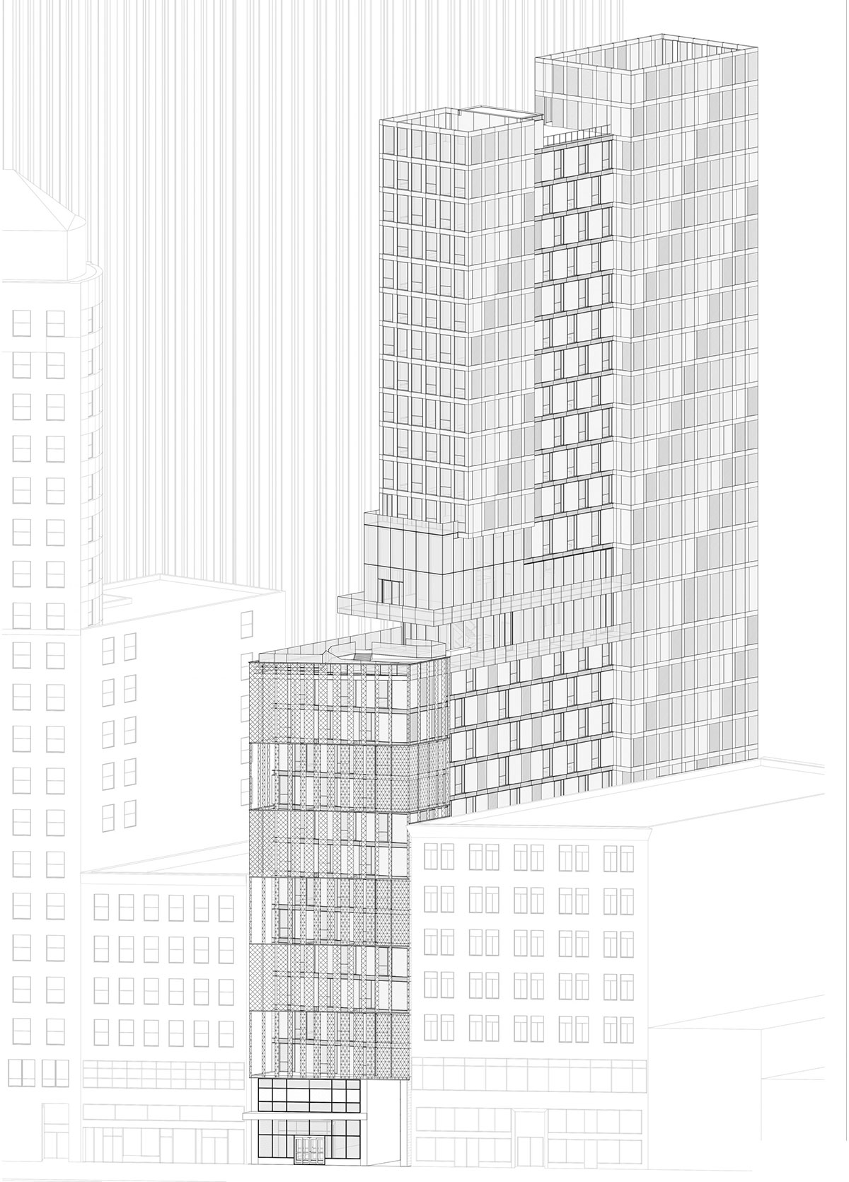 Axonometric view of the San Francisco modular project located at 570 Market Street on the Financial District of San Francisco, California designed by the architecture studio Danny Forster & Architecture