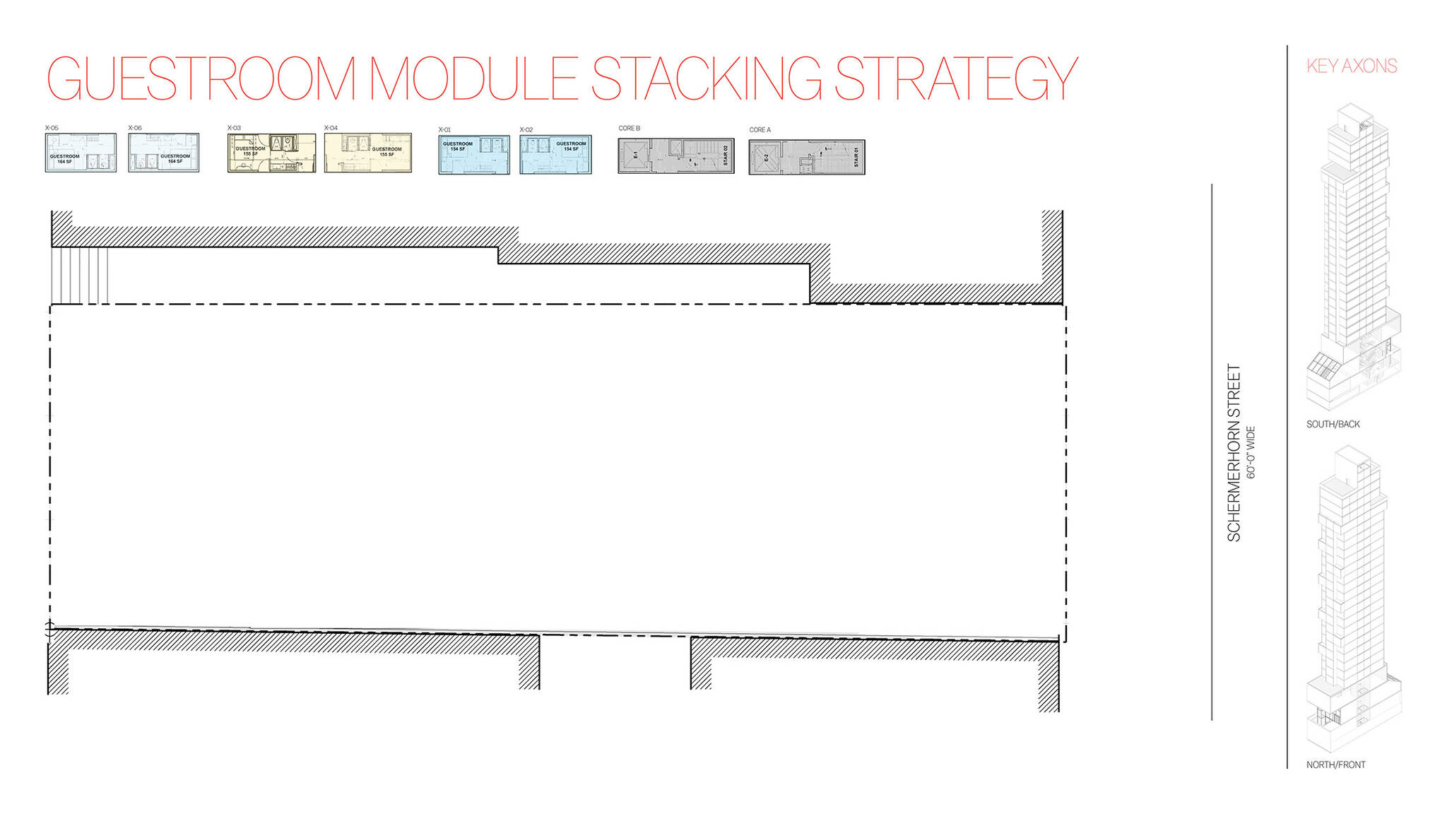Guestroom module stacking strategy of the Brooklyn Motto Hotel project, a modular hotel tower on Schermerhorn Street in Brooklyn, New York designed by the architecture studio Danny Forster & Architecture