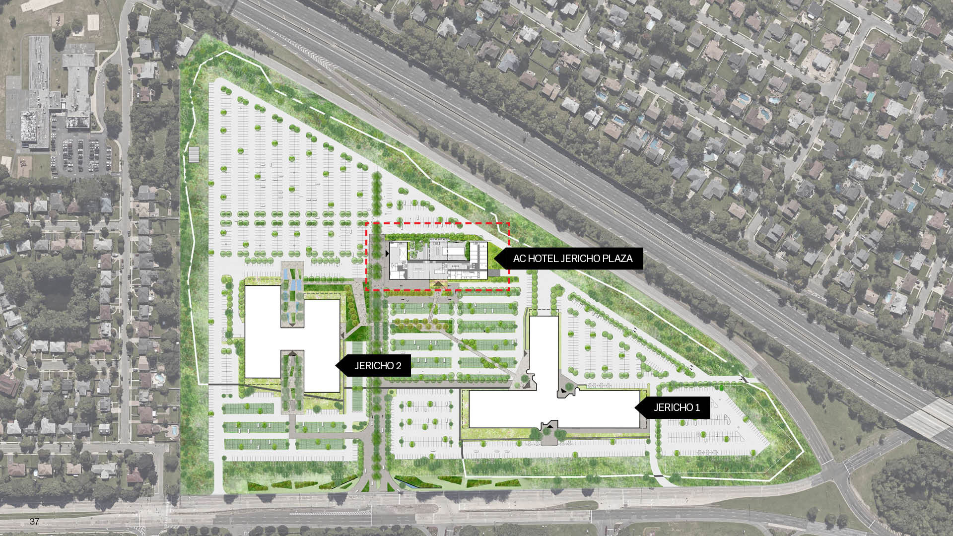 Site plan of the Jericho Plaza Hotel project in Jericho, New York designed by the architecture studio Danny Forster & Architecture