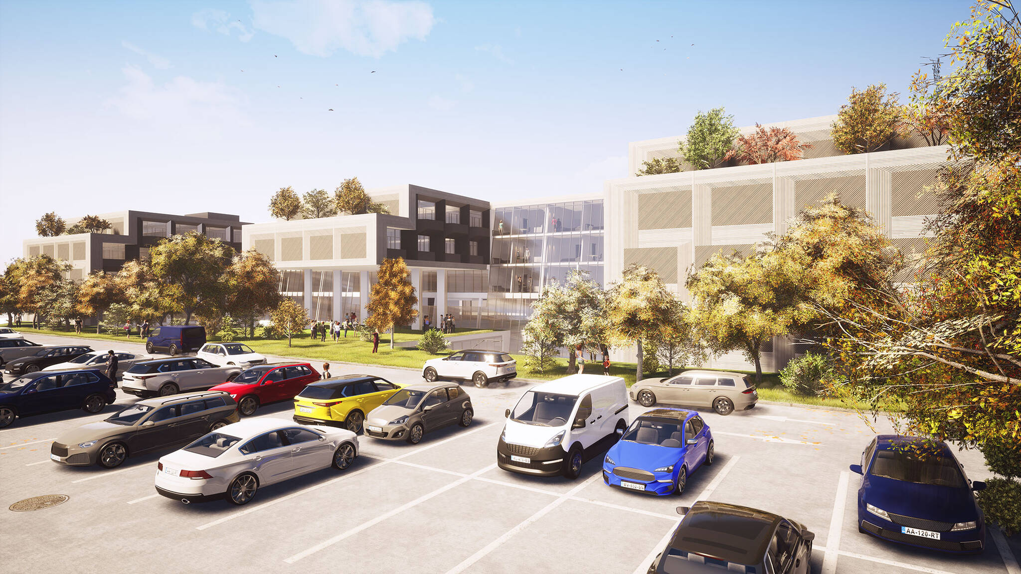 Parking of the Jericho Plaza Hotel project in Jericho, New York designed by the architecture studio Danny Forster & Architecture