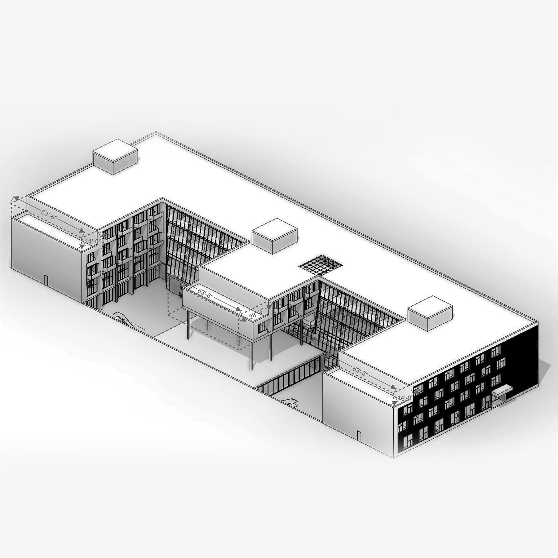 Isometric diagram of the Jericho Plaza Hotel project in Jericho, New York designed by the architecture studio Danny Forster & Architecture