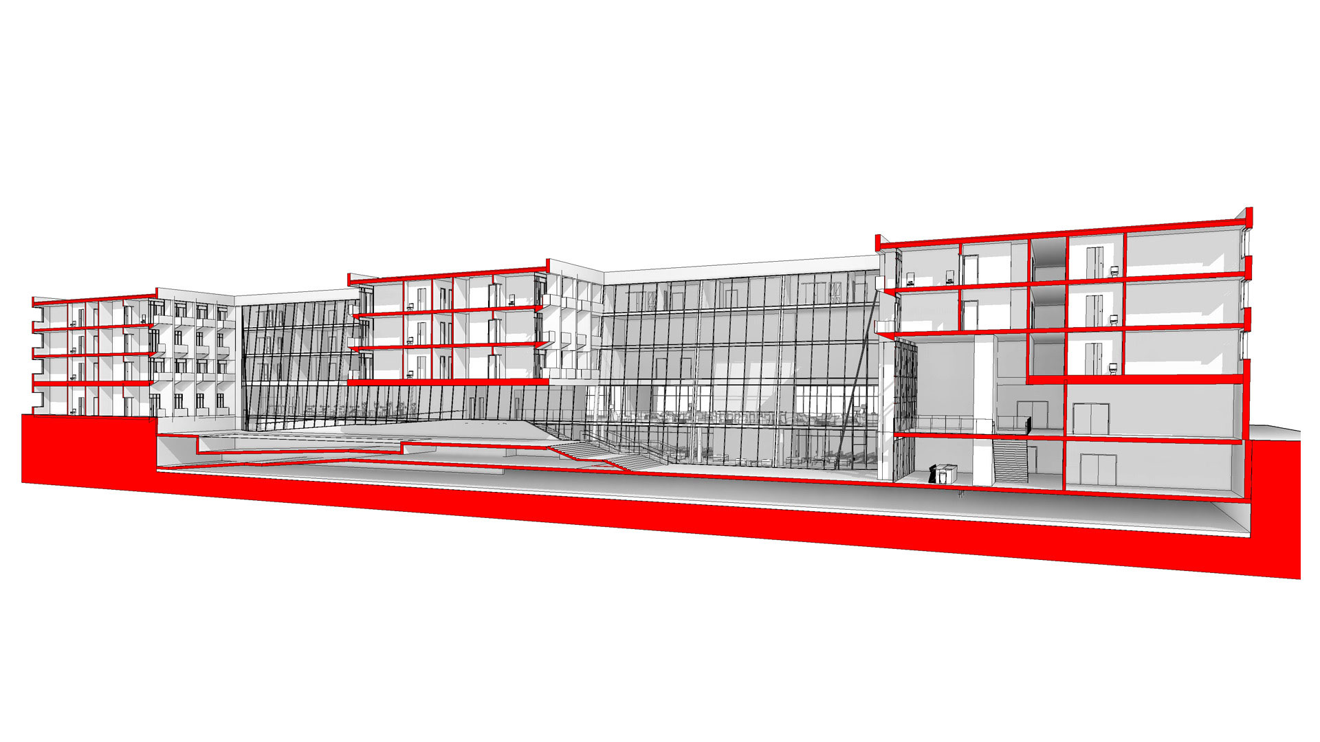 Section drawing of the Jericho Plaza Hotel project in Jericho, New York designed by the architecture studio Danny Forster & Architecture