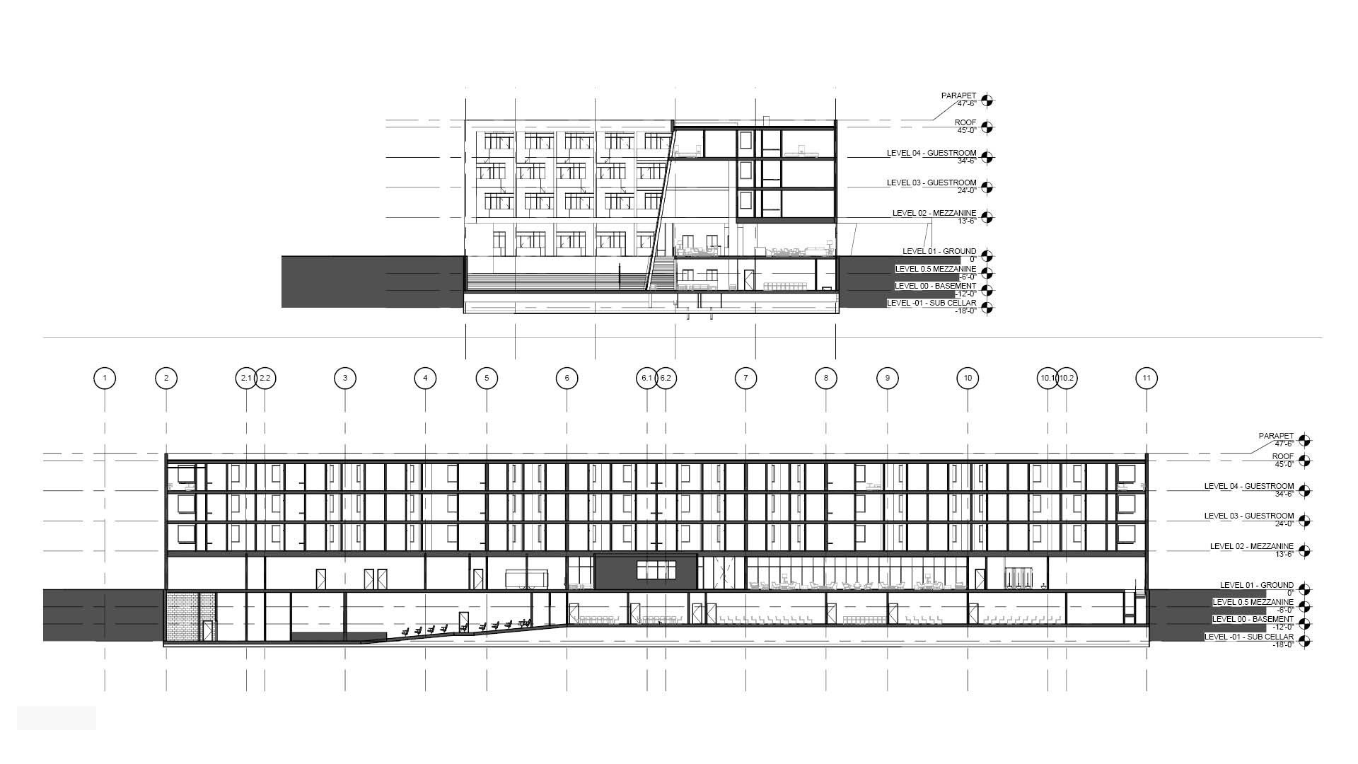 Levels diagram of the Jericho Plaza Hotel project in Jericho, New York designed by the architecture studio Danny Forster & Architecture