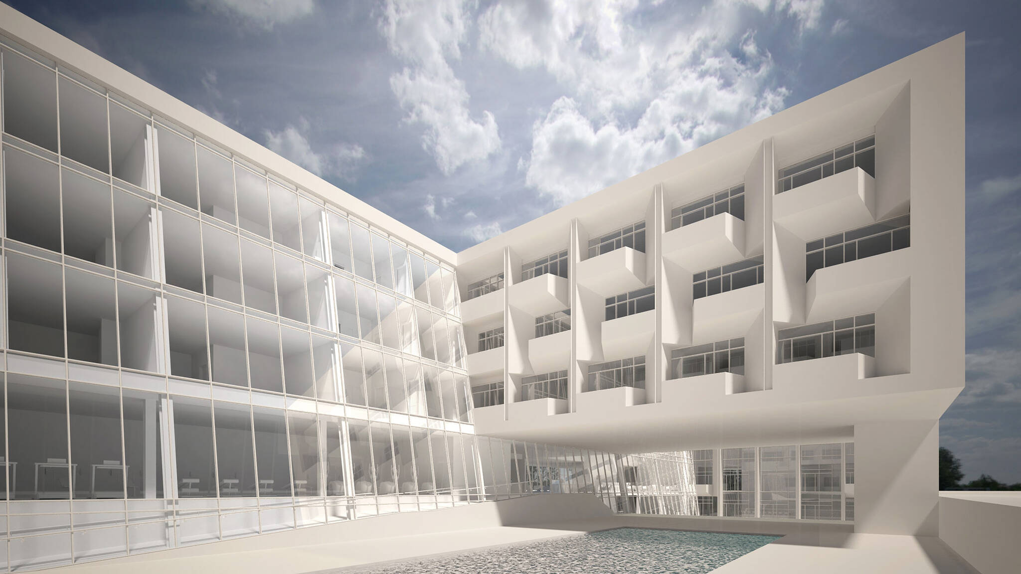 Architectural rendering of the Jericho Plaza Hotel project in Jericho, New York designed by the architecture studio Danny Forster & Architecture