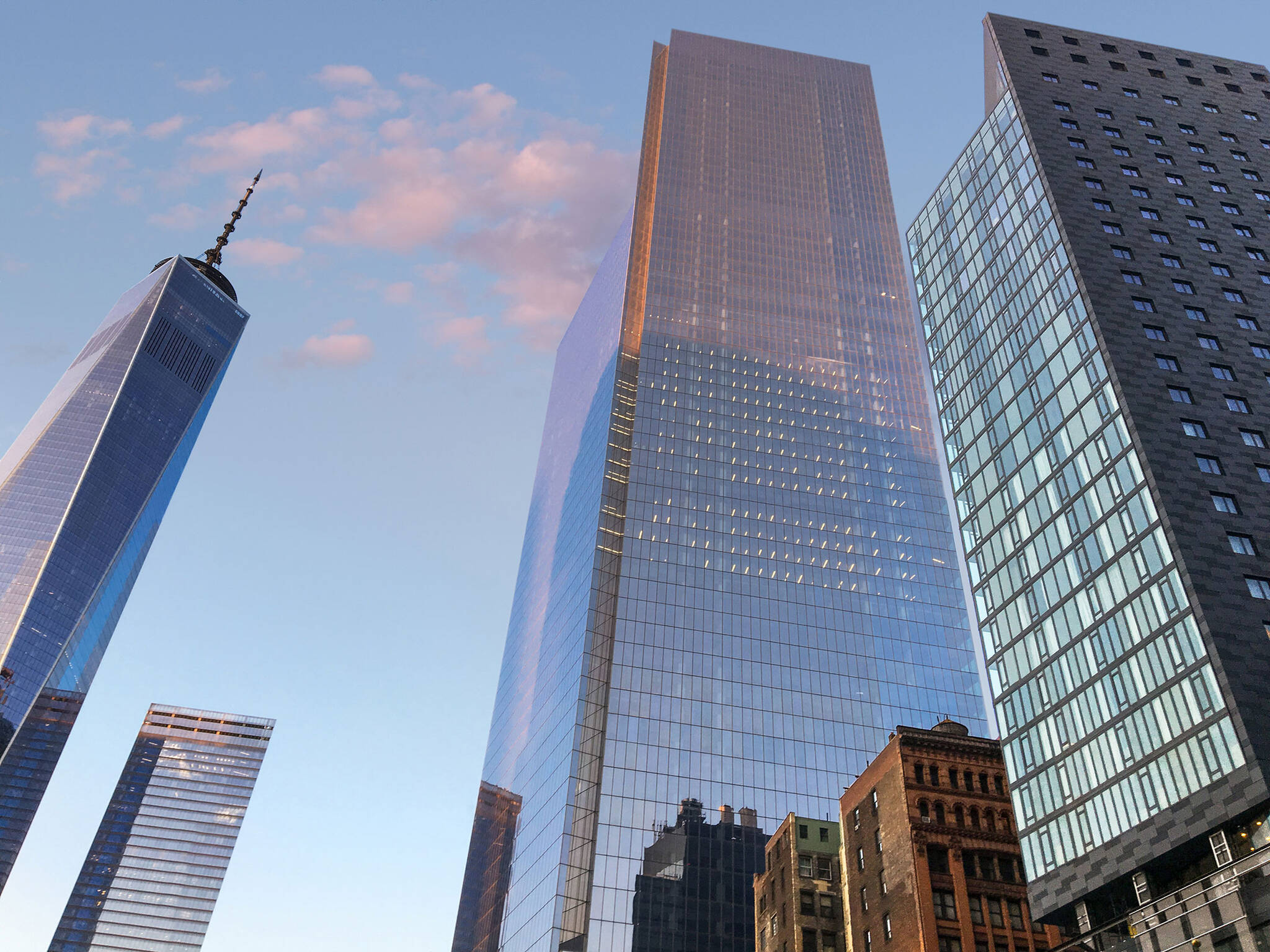 World Trade Center Tower Courtyard by Marriott project on the 133 Greenwich street in Downtown Manhattan designed by the architecture studio Danny Forster & Architecture
