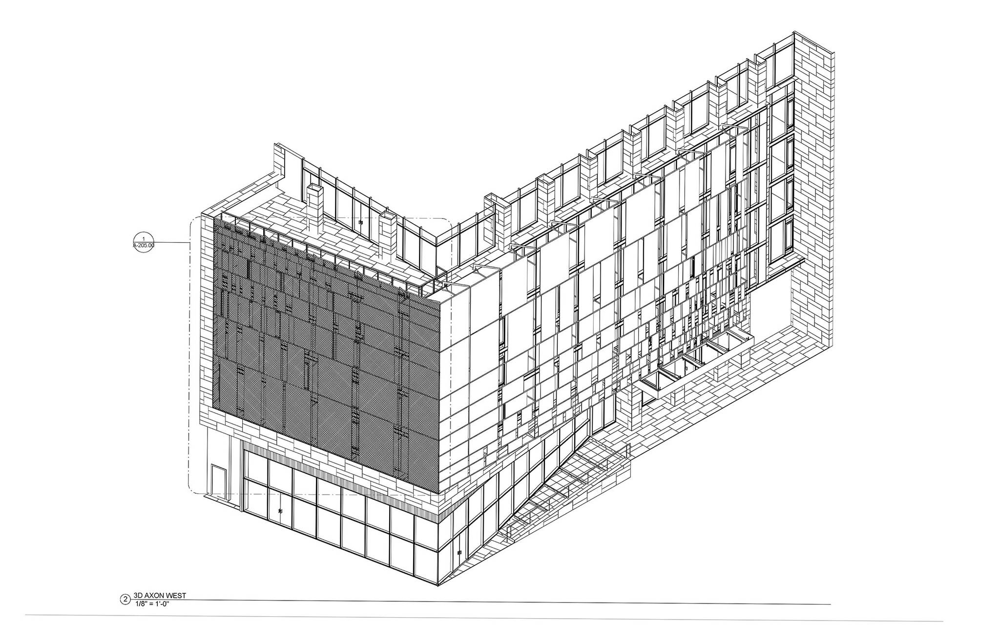 Facade study of the West side of the World Trade Center Tower Courtyard by Marriott project on the 133 Greenwich street in Downtown Manhattan designed by the architecture studio Danny Forster & Architecture
