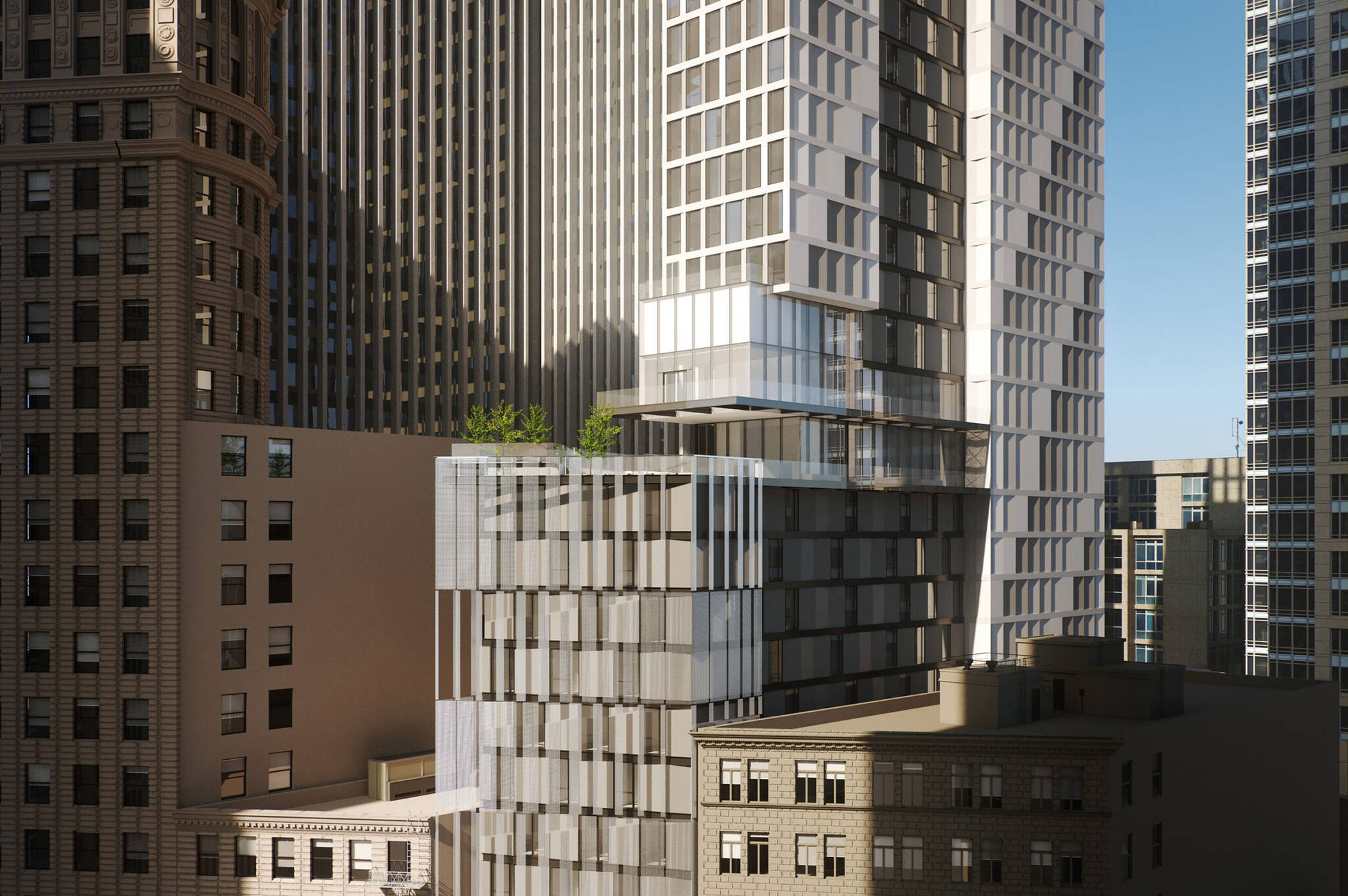 San Francisco modular project located at 570 Market Street on the Financial District of San Francisco, California designed by the architecture studio Danny Forster & Architecture