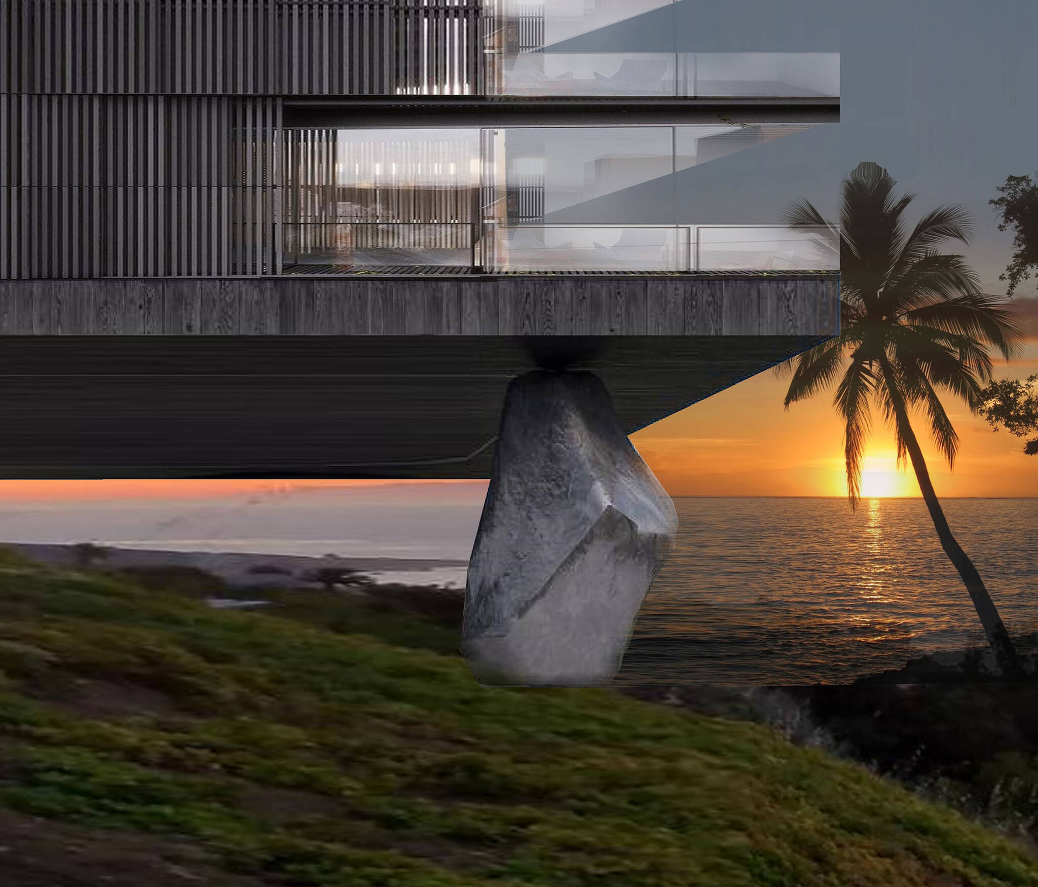 Stone structure on the Nevisian Luxury Resort project designed by the architecture studio Danny Forster & Architecture. A luxury resort with restaurants, villas, spas, a conference center, and the world's first 5-star modular hotel located in Nevis island in the Lesser Antilles