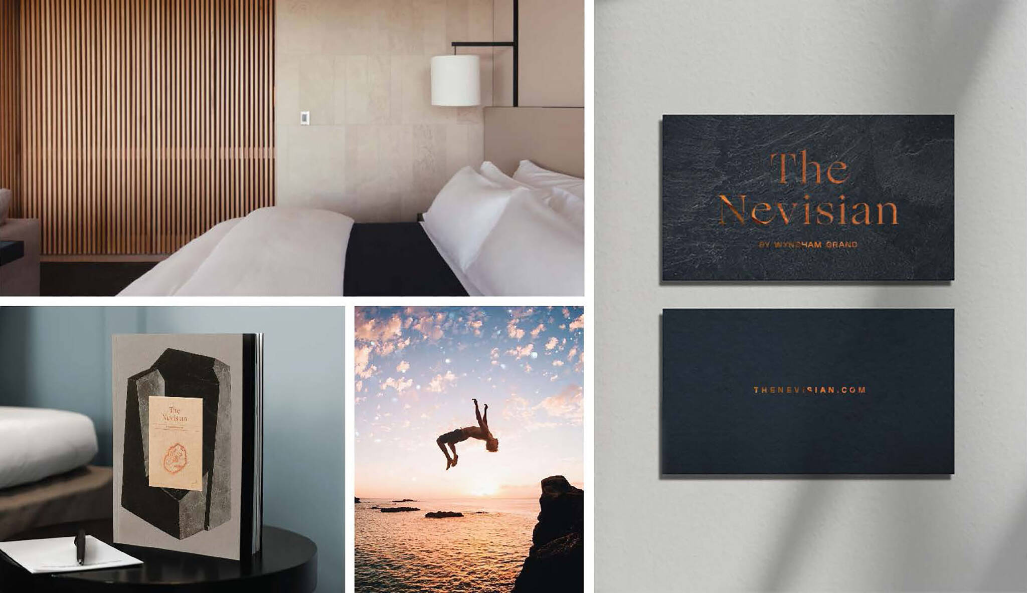 Branding moodboard of the Nevisian Luxury Resort project designed by the architecture studio Danny Forster & Architecture. A luxury resort with restaurants, villas, spas, a conference center, and the world's first 5-star modular hotel located in Nevis island in the Lesser Antilles